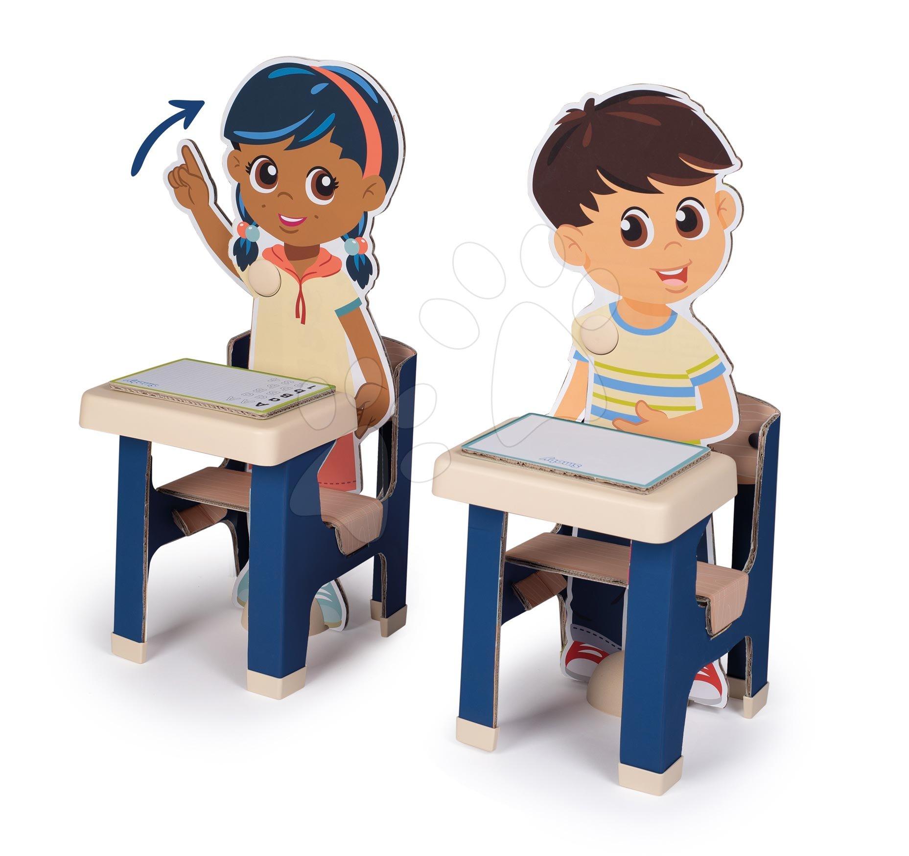 Školní lavice s žáky Classroom Smoby dva stoly a dvě děti s pohyblivýma rukama