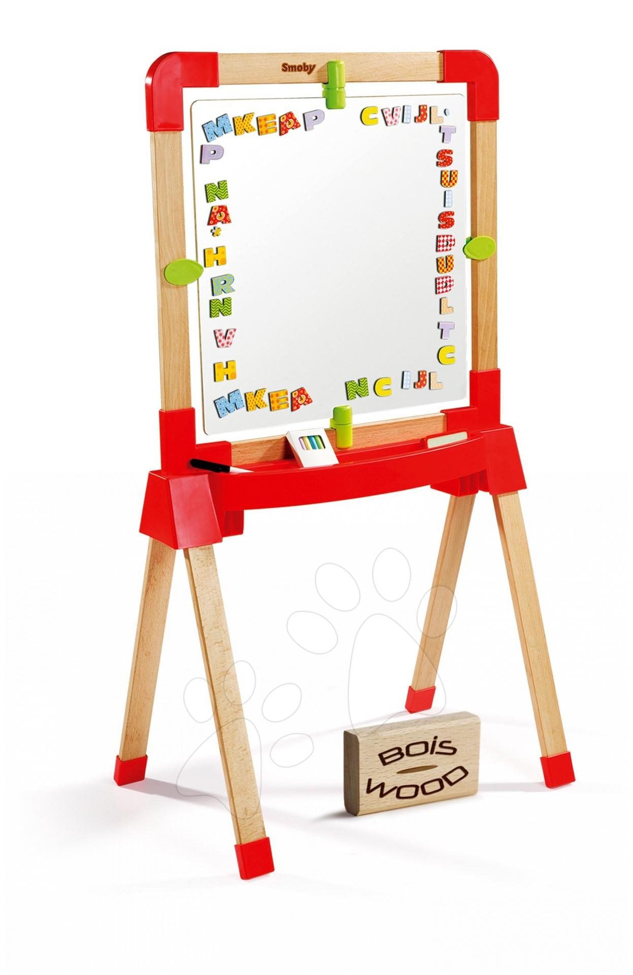 Obojstranná školská tabuľa na písanie Twist n' Play Smoby s drevenou konštrukciou a 69 doplnkov