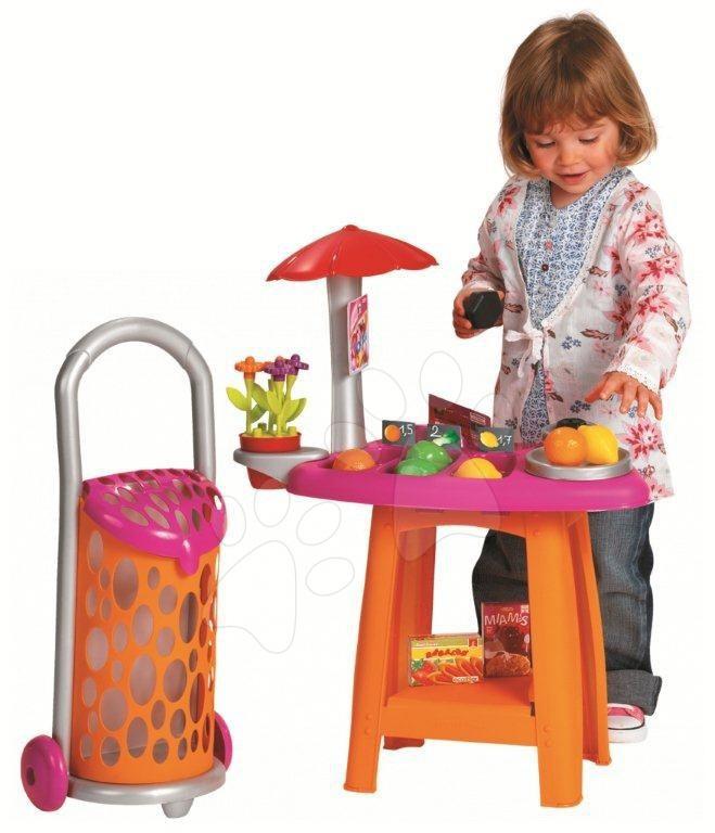 Obchody pro děti - Obchod Cool Cook Écoiffier s váhou a nákupním vozíkem s 25 doplňky od 18 měsíců
