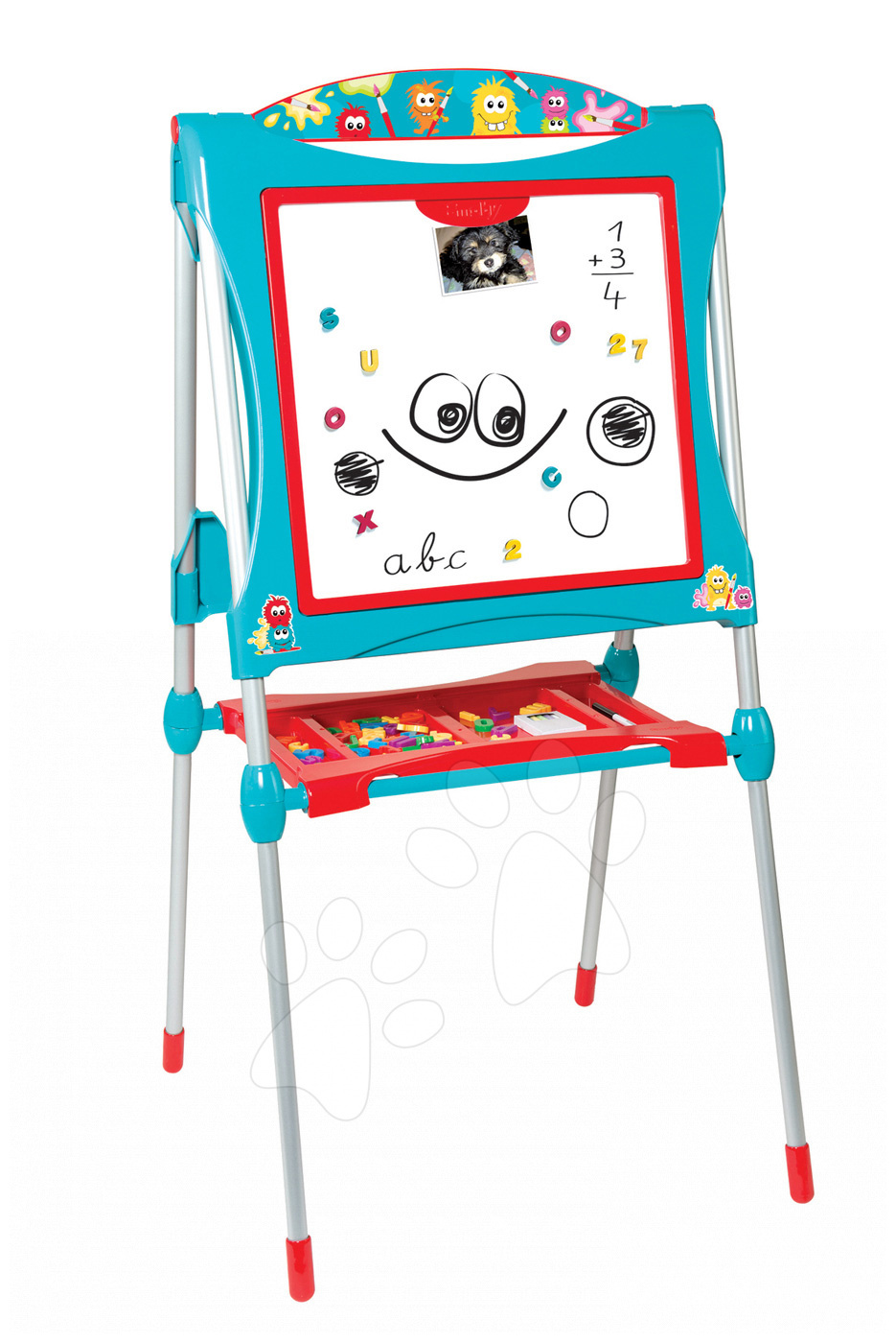 Tablă de învăţat pentru desenat magnetică Smoby cu două feţe, cu structură metalică, cu raft pentru depozitare şi cu 59 accesorii turcoaz-roşu