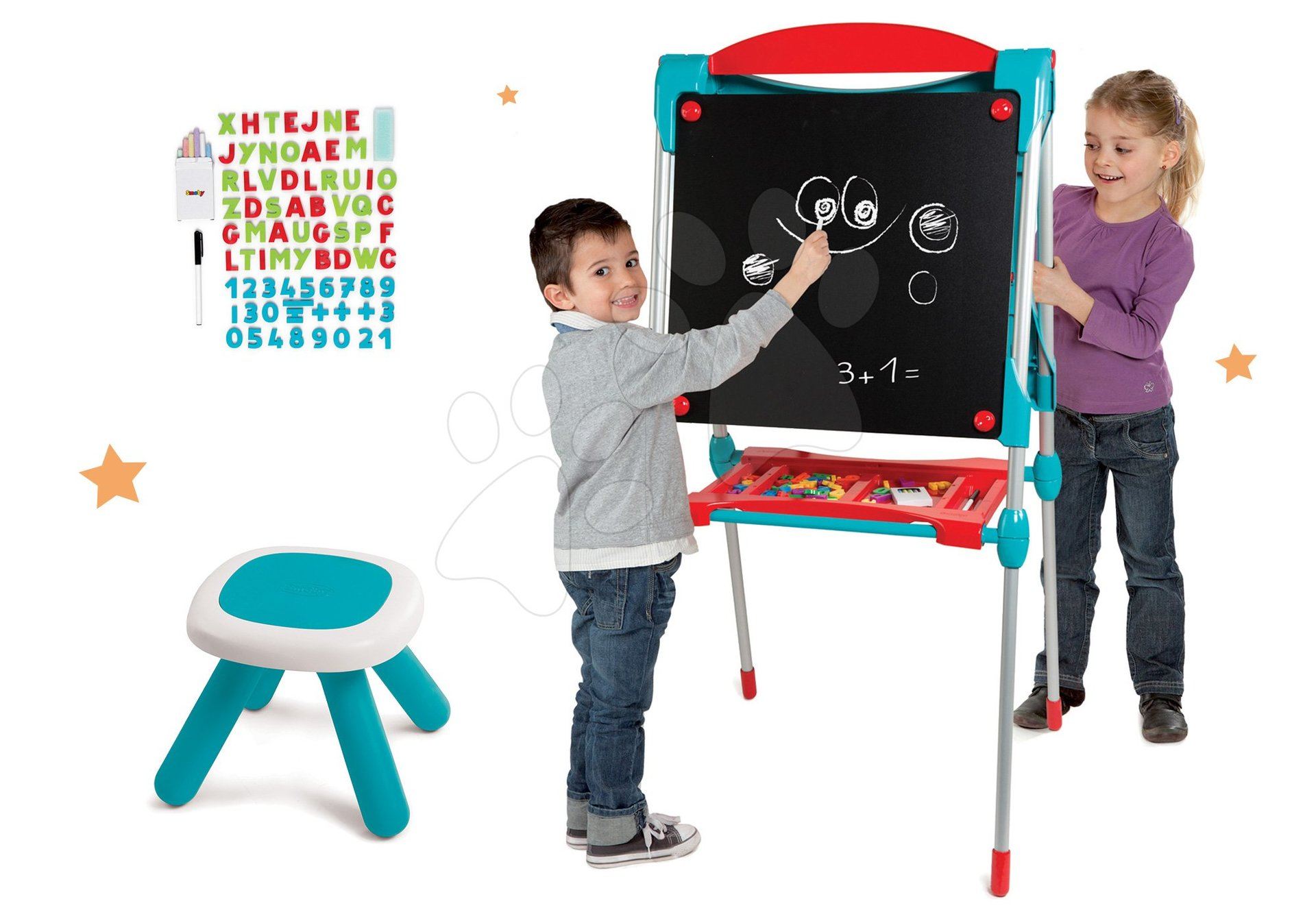 Tabule a lavice sety - Set školská tabuľa na hranie Smoby obojstranná magnetická s 59 doplnkami a taburetka KidStool modrá