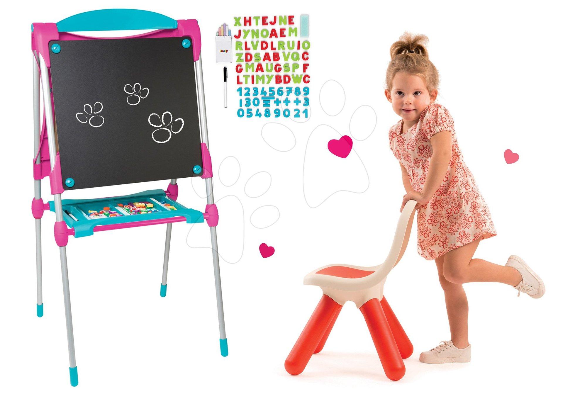 Školní tabule na hraní Smoby magnetická oboustranná s 59 doplňky a židle KidChair