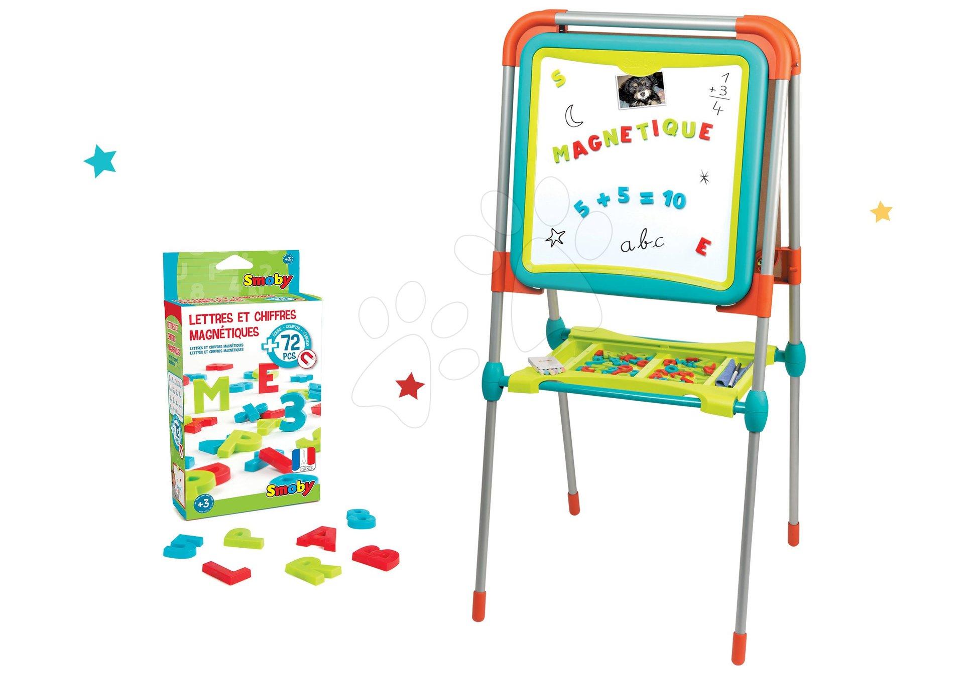 Set tabuľa na kreslenie a magnetky Ultimate Board Smoby obojstranná skladacia a magnetická abeceda a čísla 72 kusov