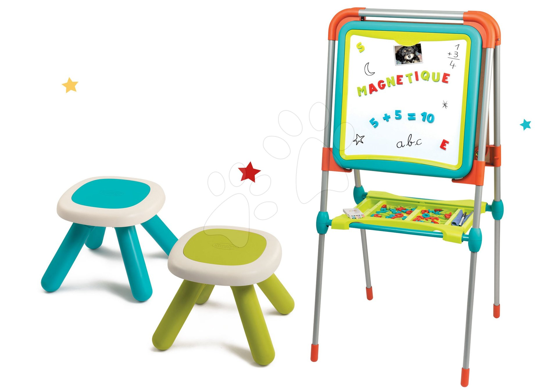 Set tabuľa na kreslenie a magnetky Ultimate Board Smoby obojstranná skladacia a dva stolčeky Kid