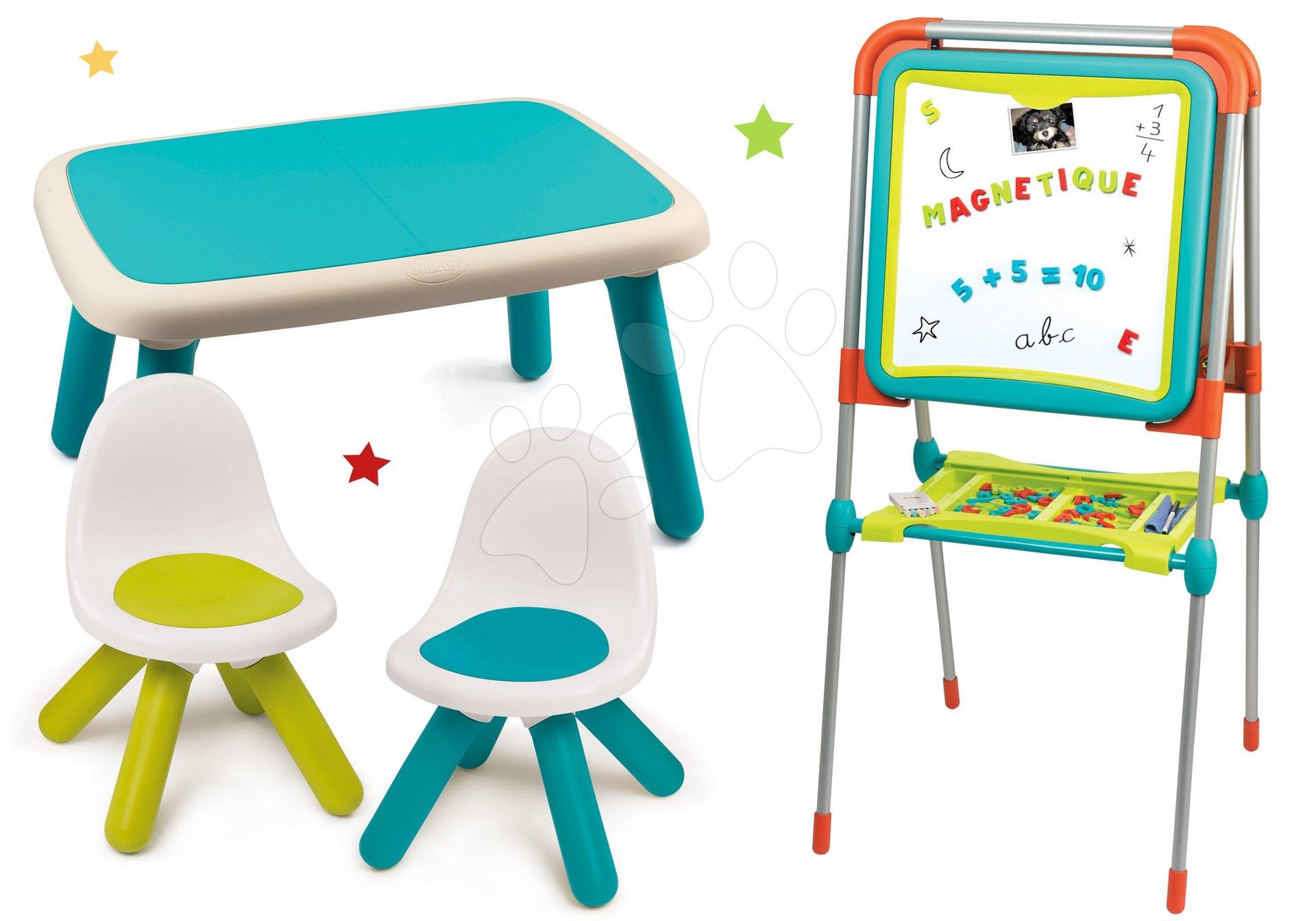 Set tabuľa na kreslenie a magnetky Ultimate Board Smoby obojstranná skladacia a stôl a dve stoličky Kid