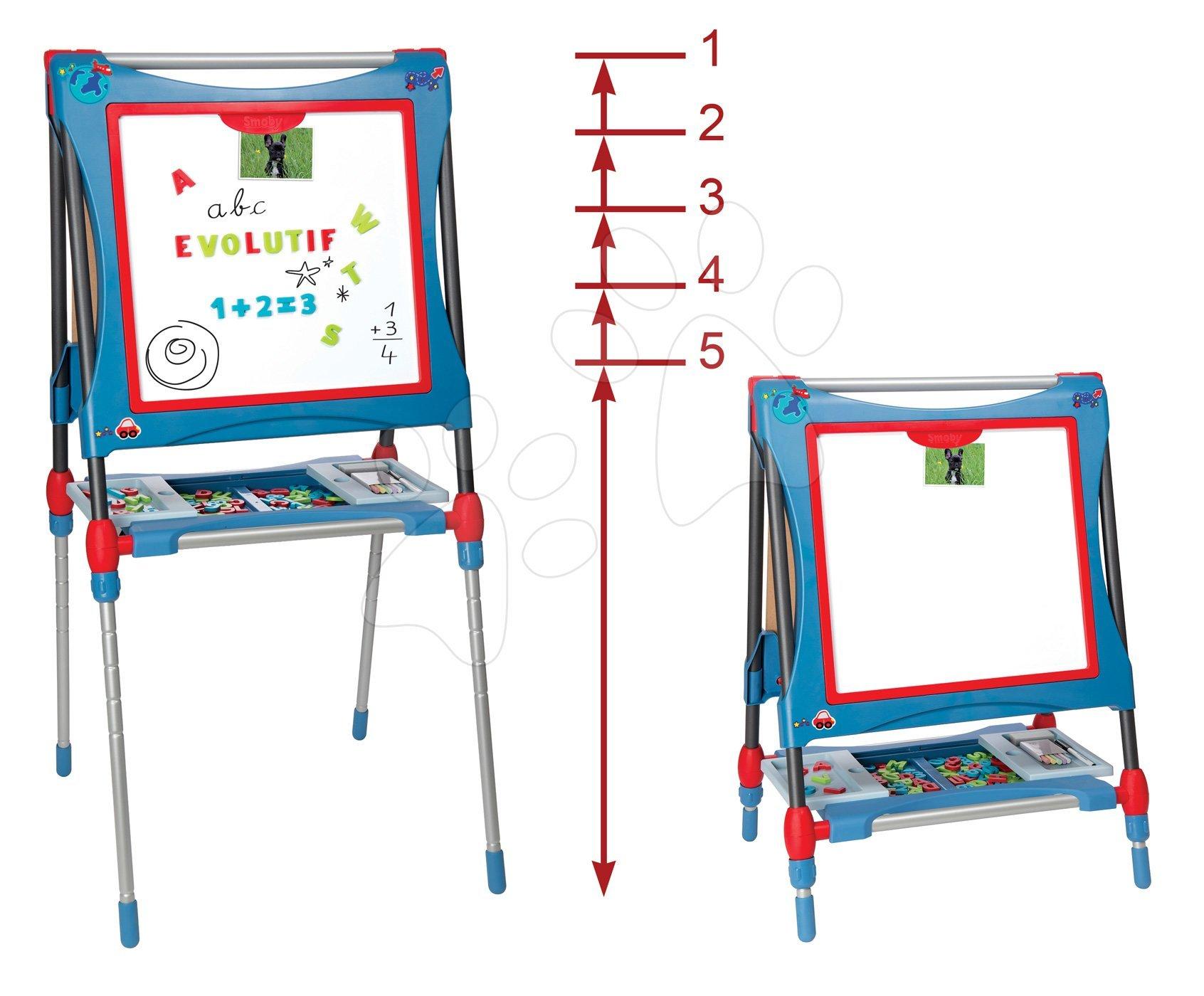 Školská tabuľa na hranie magnetická Smoby obojstranná, polohovateľná so skrinkou a 80 doplnkami modrá