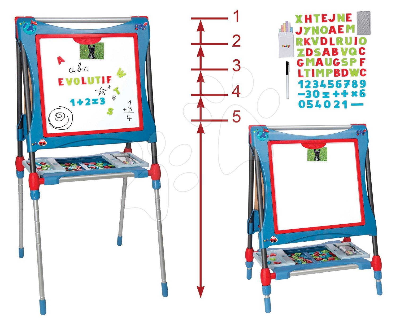 Magnetická a kresliaca tabuľa Smoby výškovo nastaviteľná 80-125 cm so skrinkou a 128 doplnkami modrá