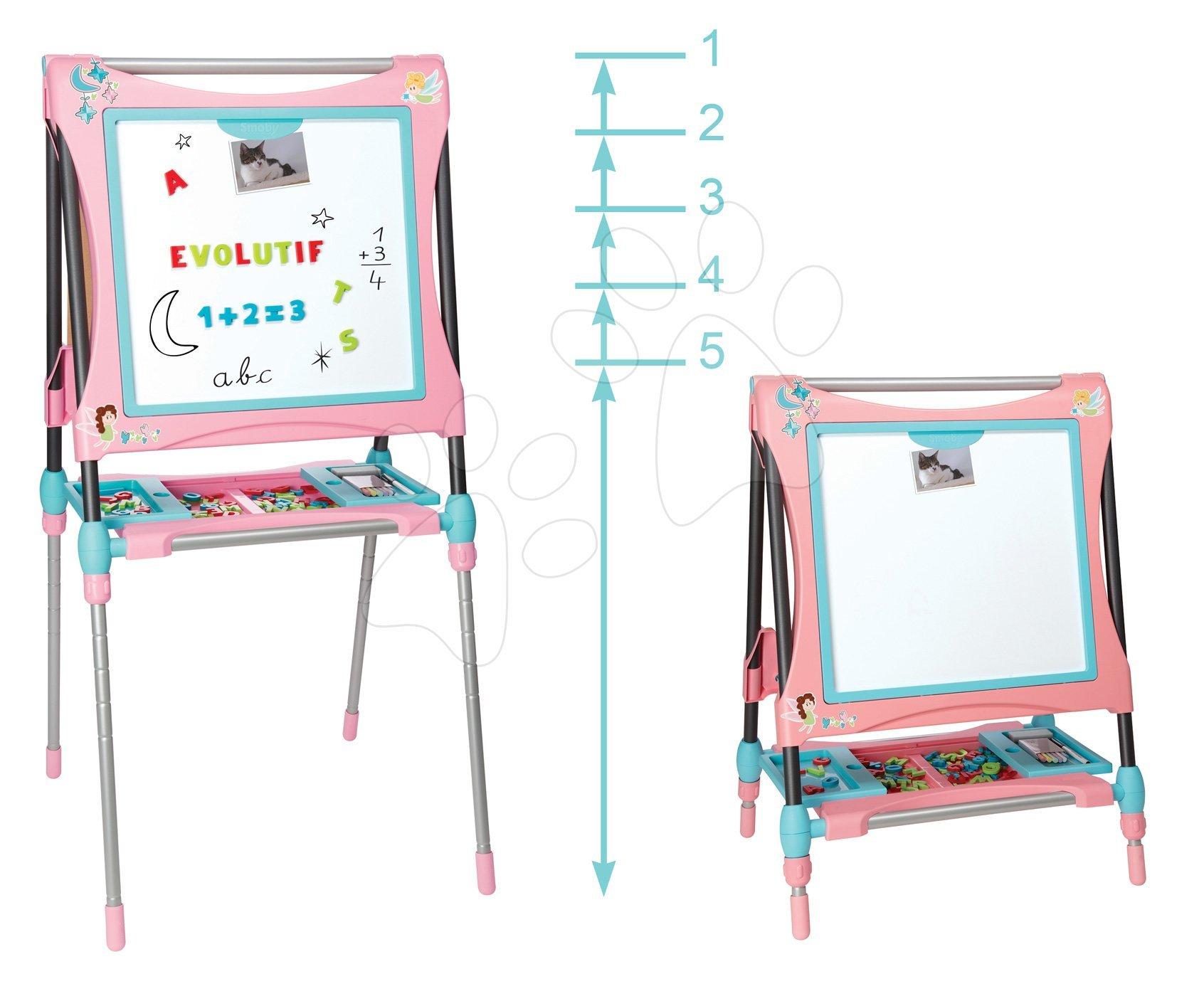 Školská tabuľa na hranie magnetická Smoby obojstranná, polohovateľná so skrinkou a 80 doplnkami ružová