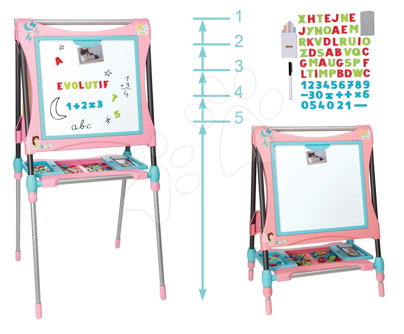 Magnetická a kresliaca tabuľa Smoby výškovo nastaviteľná 80-125 cm so skrinkou a 128 doplnkami ružová