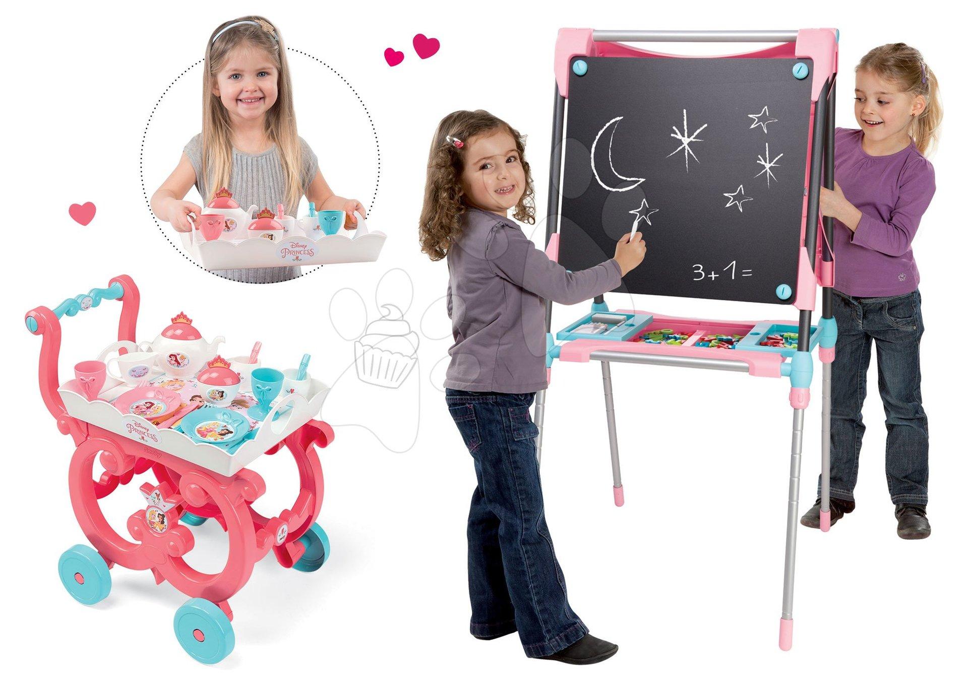 Školní magnetická tabule Smoby oboustranná s 80 doplňky a servírovací vozík Princezny