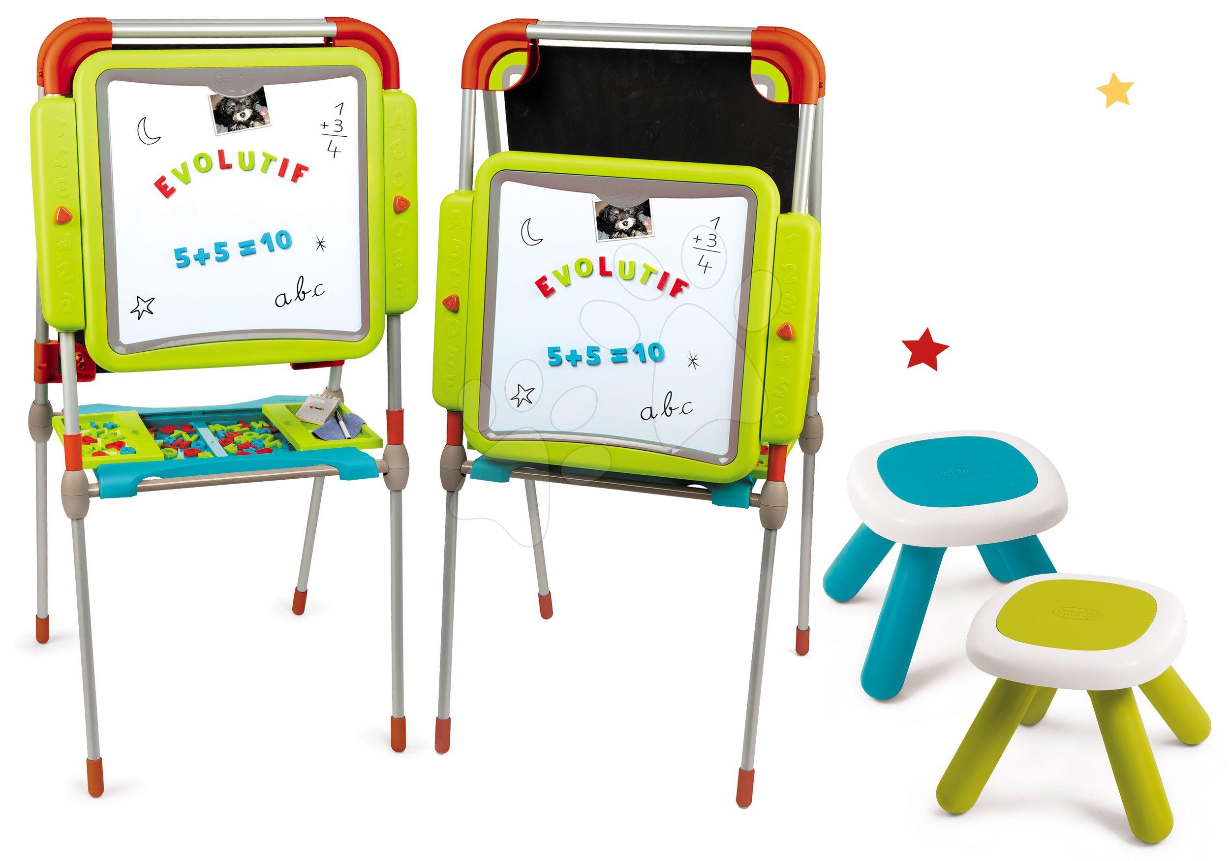 Set tabuľa na kreslenie a magnetky Evolutiv Board Smoby nastaviteľná obojstranná a dva stolčeky Kid