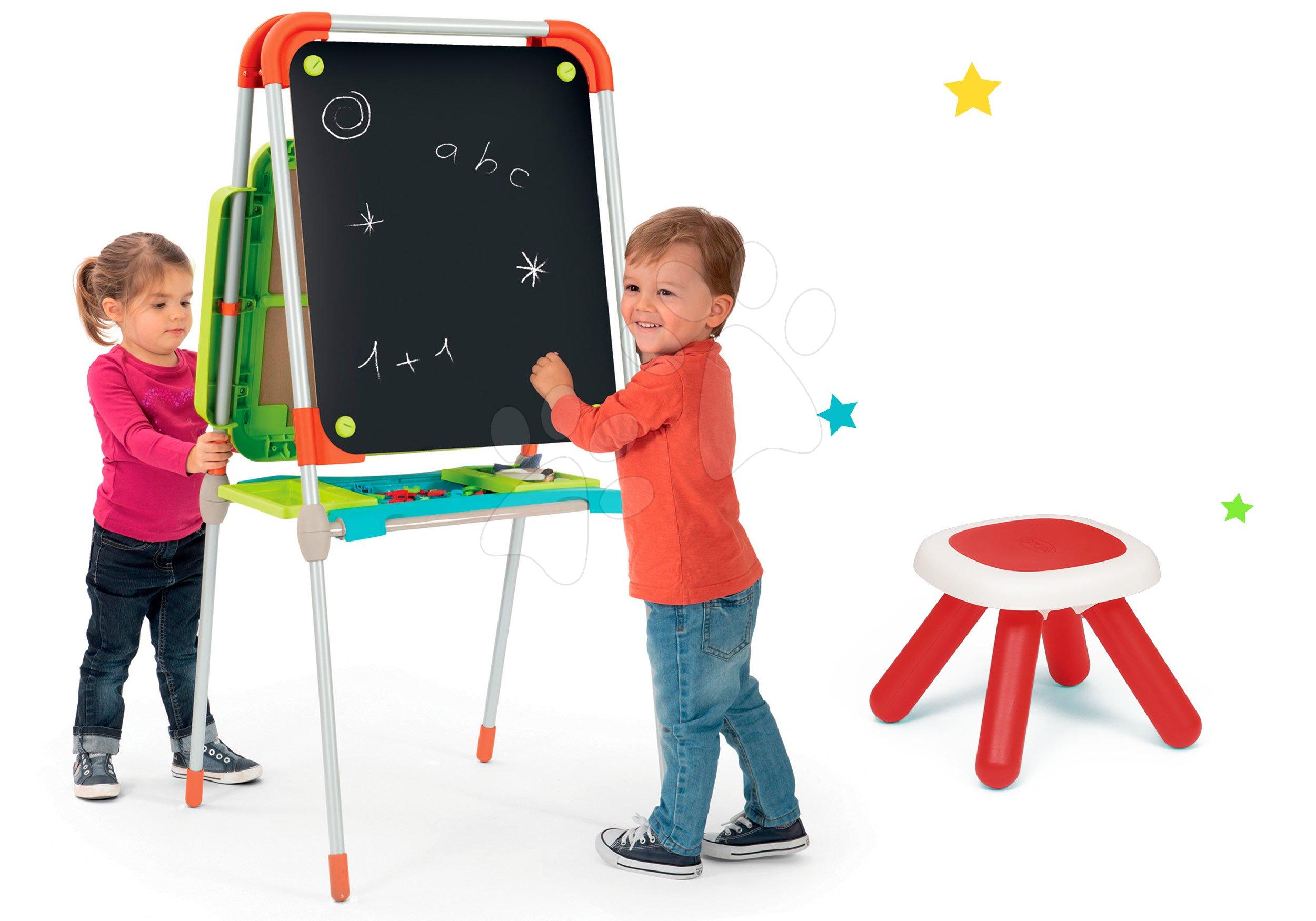 Smoby set magnetická tabuľa Smoby a taburetka KidStool 2v1 červená 410203-1