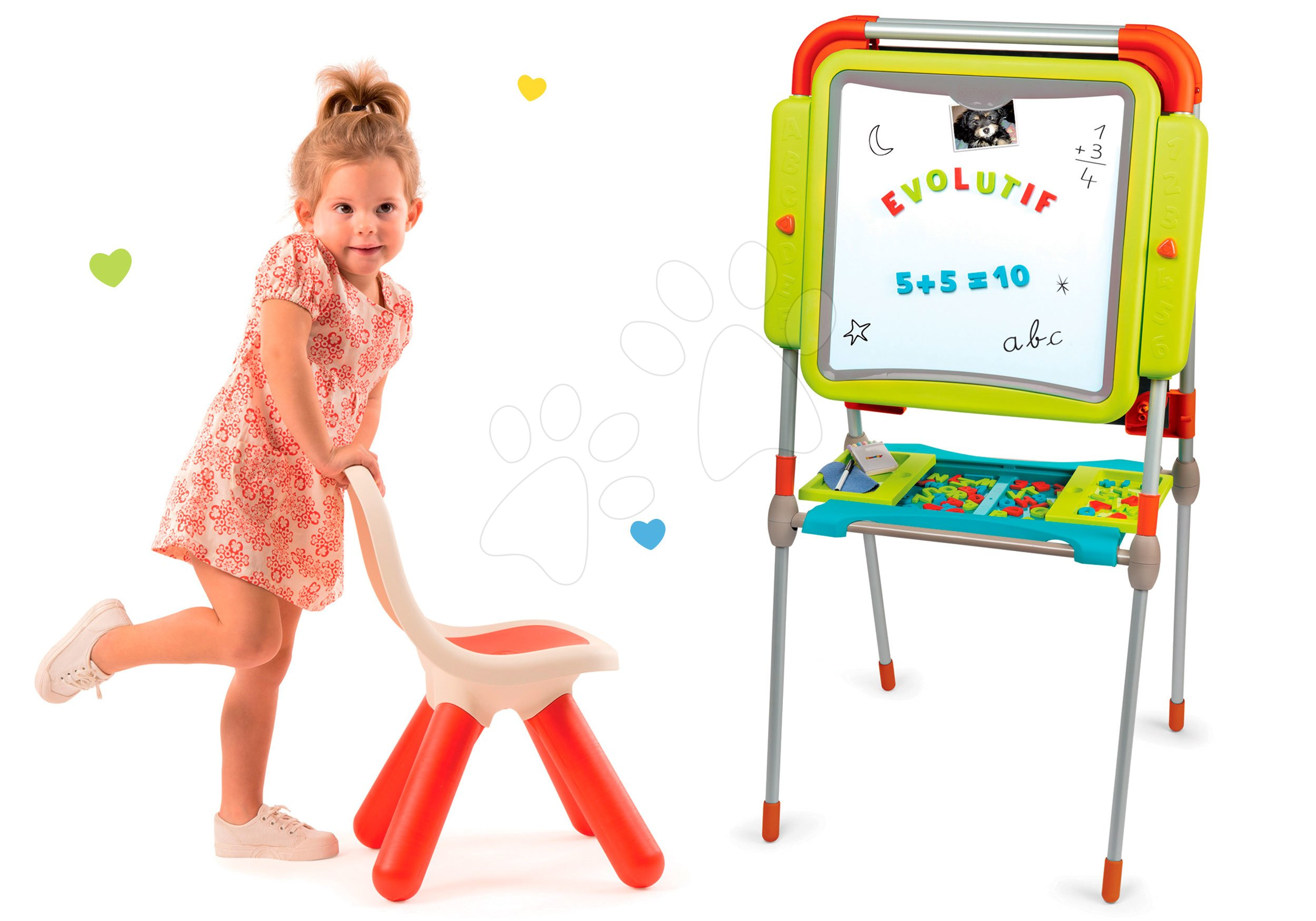 Smoby set školní magnetická tabule a židle KidChair červená 410203-2
