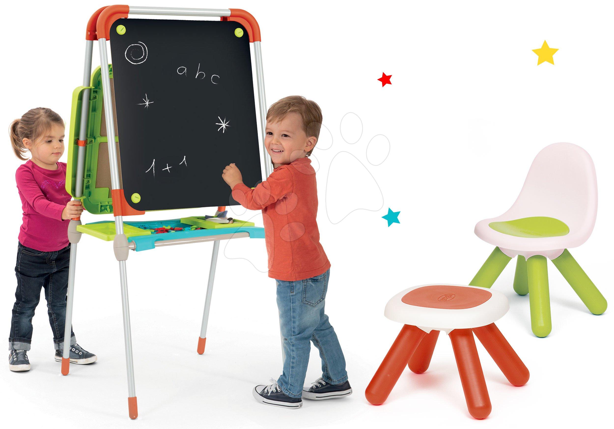 Smoby set školní magnetická tabule a židle KidChair a taburetka KidStool 410203-3