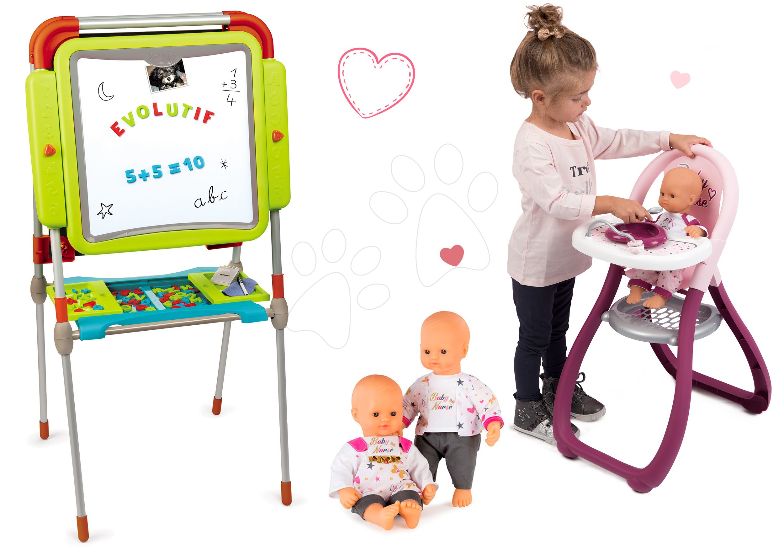 Smoby set školská magnetická tabuľa a jedálenská stolička a bábika Baby Nurse 410203-4