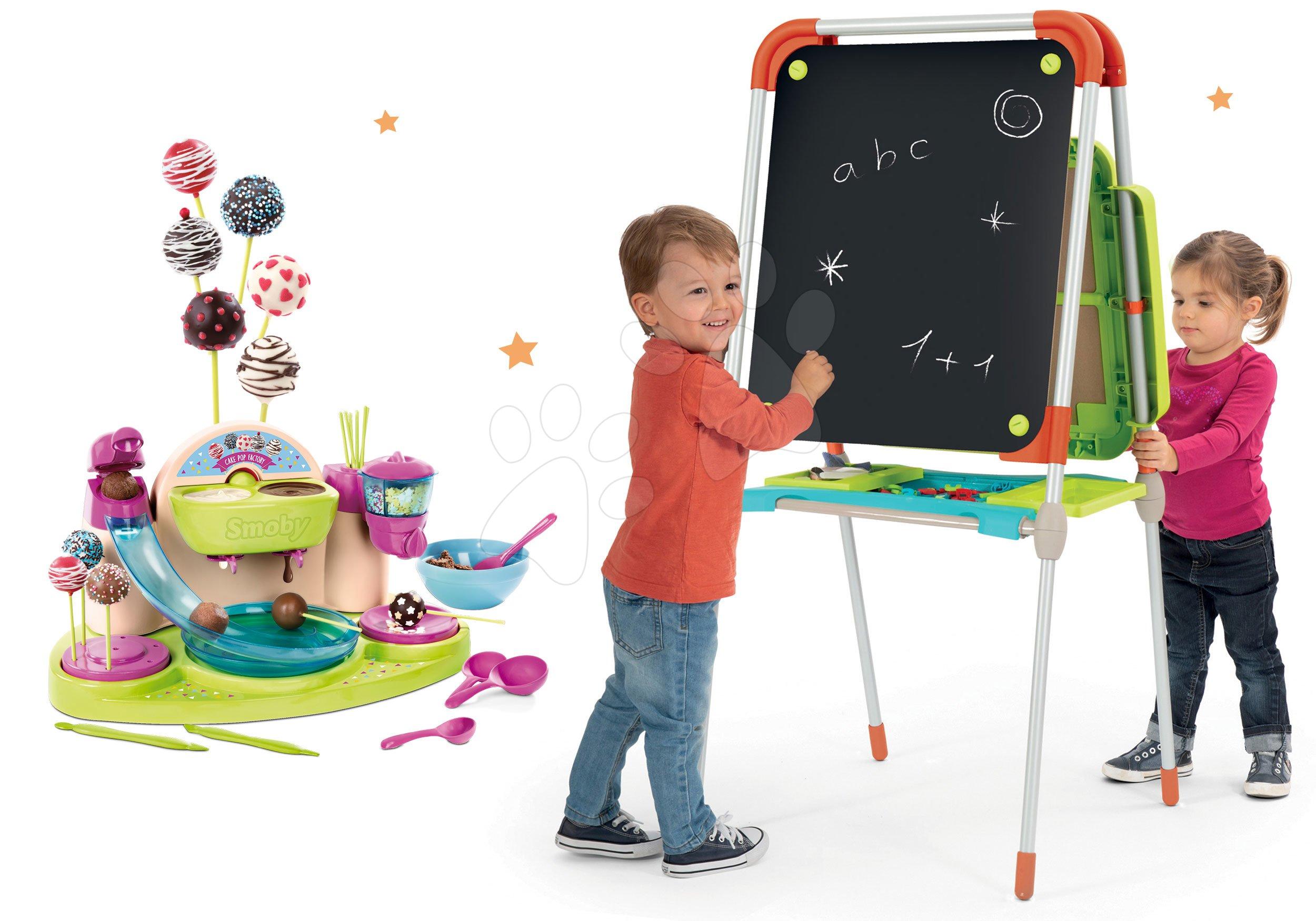 Smoby set školská magnetická tabuľa a Hravá kuchárka Chef Cukráreň na výrobu čokoládových lízaniek 410203-5