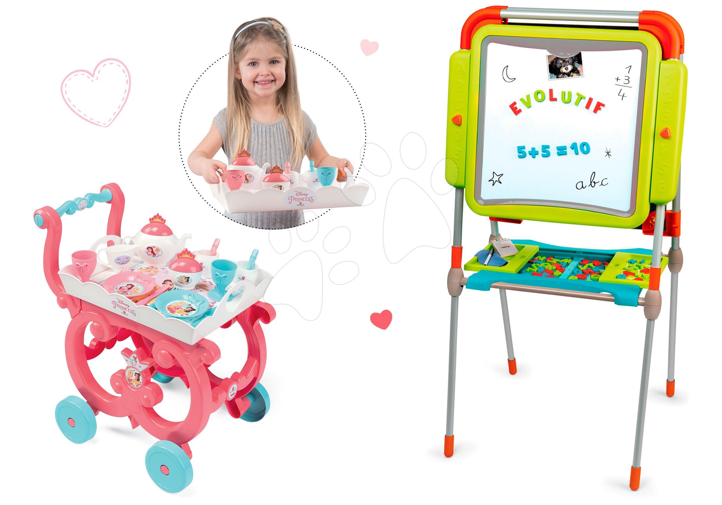 Tabule a lavice sety - Školská magnetická tabuľa Smoby obojstranná s 80 doplnkami a servírovací vozík Princezné