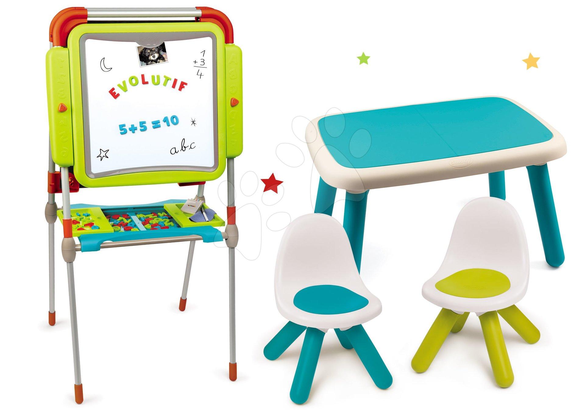 Set tabule na kreslení a magnetky Evolutive Board Smoby nastavitelná oboustranná a stůl a dvě židle Kid