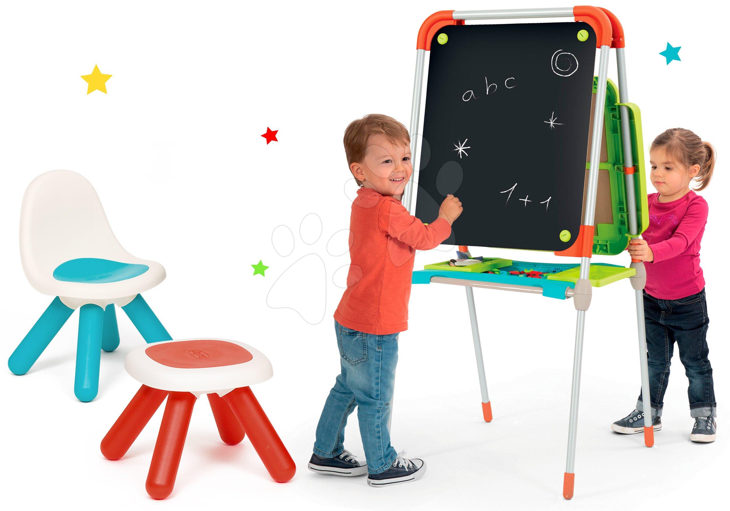 Set školská magnetická tabuľa Smoby výškovo nastaviteľná s 80 doplnkami a stolička KidChair a taburetka Kidstool 2v1