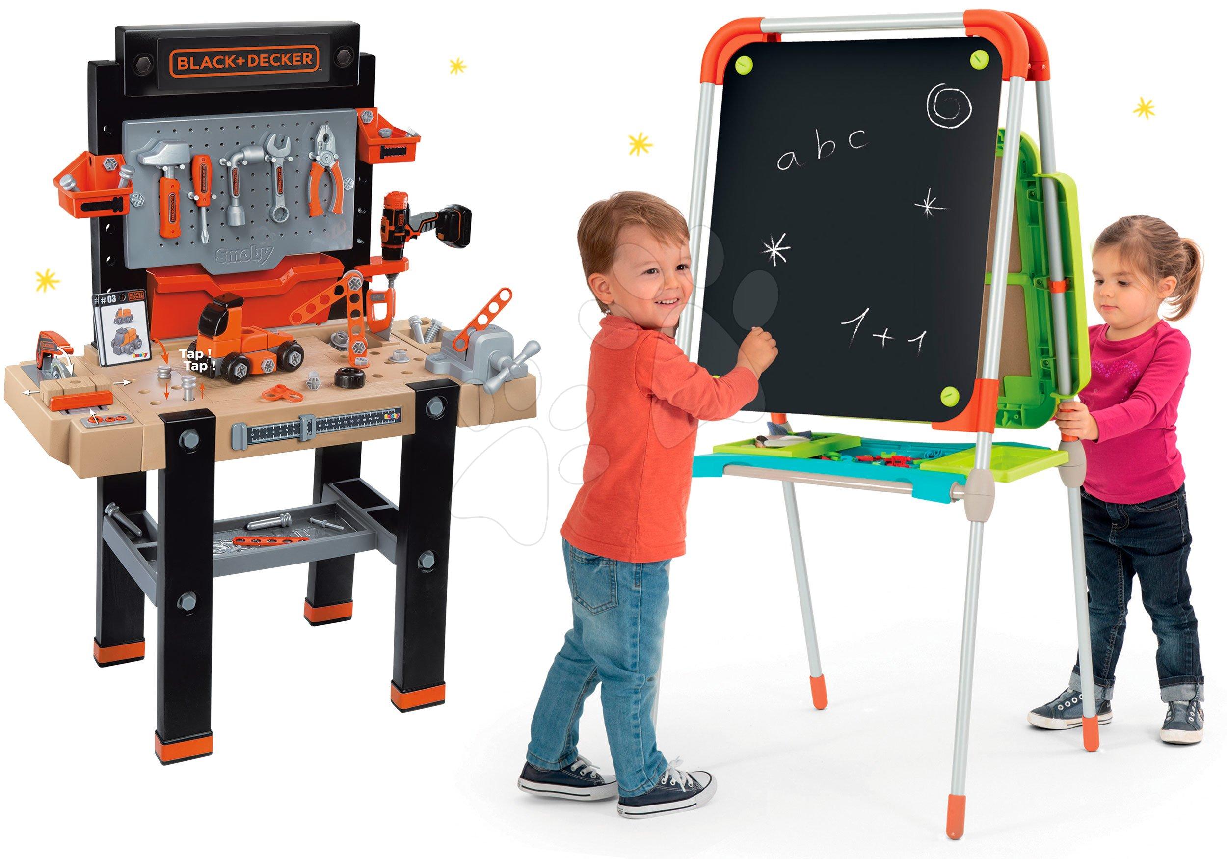 Set školská magnetická tabuľa Smoby výškovo nastaviteľná a pracovná dielňa Black+Decker elektronická