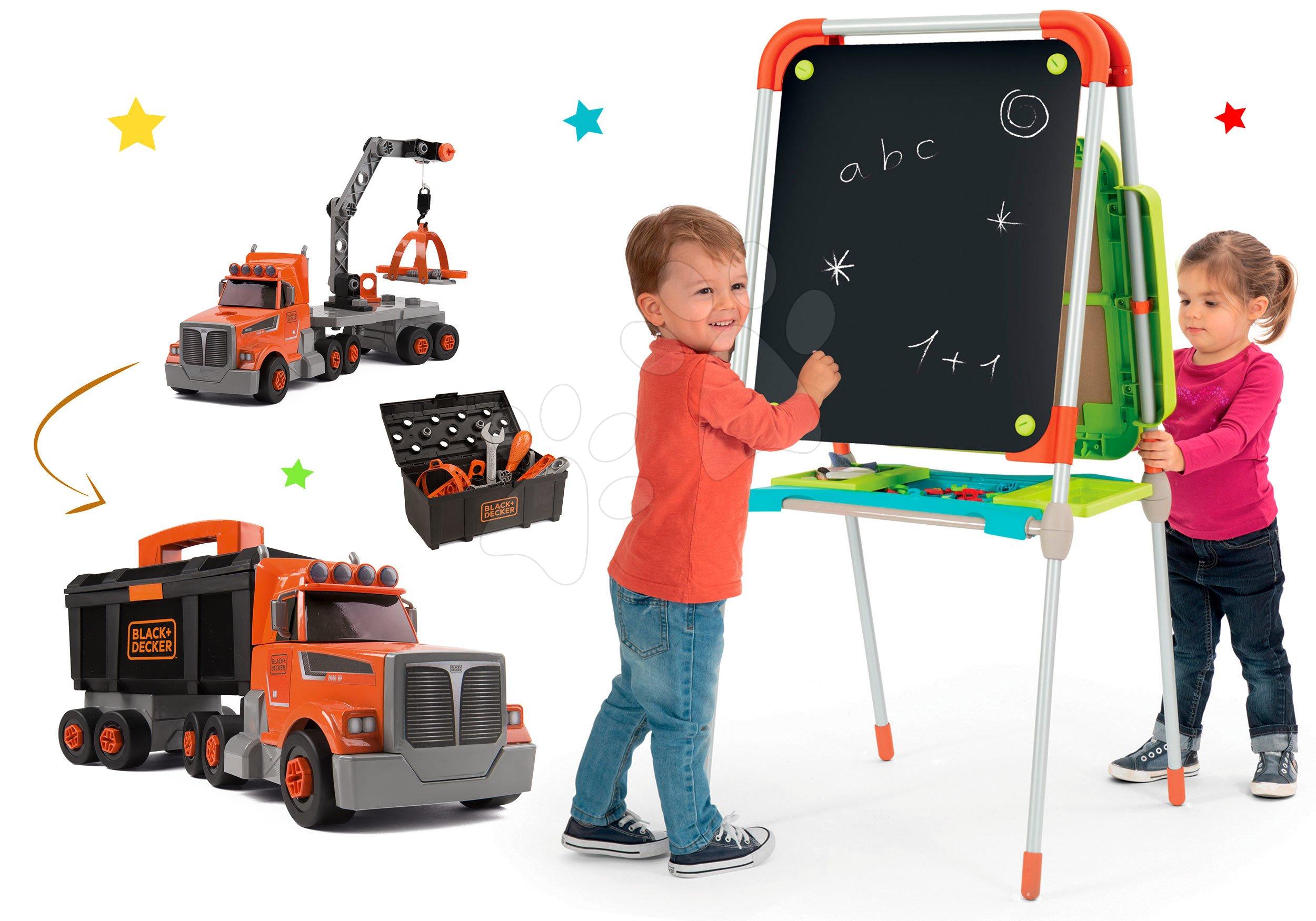 Smoby set školní magnetická tabule a kamion Bob Two Tons Truck s jeřábem 410202-5
