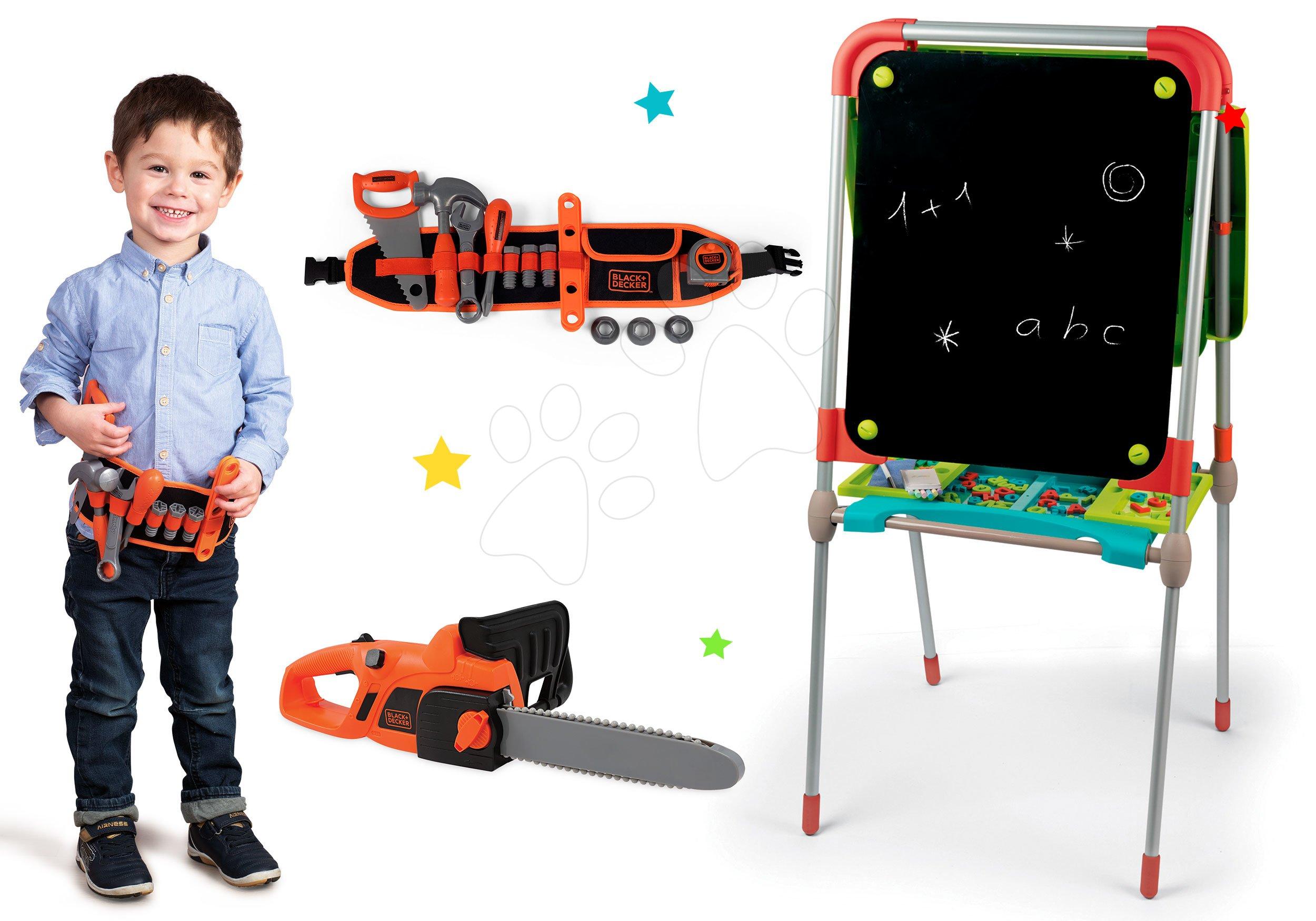 Tabule a lavice sety - Magnetická tabuľa Smoby obojstranná s kovovou konštrukciou, 80 doplnkami a pracovný opasok a motorová píla