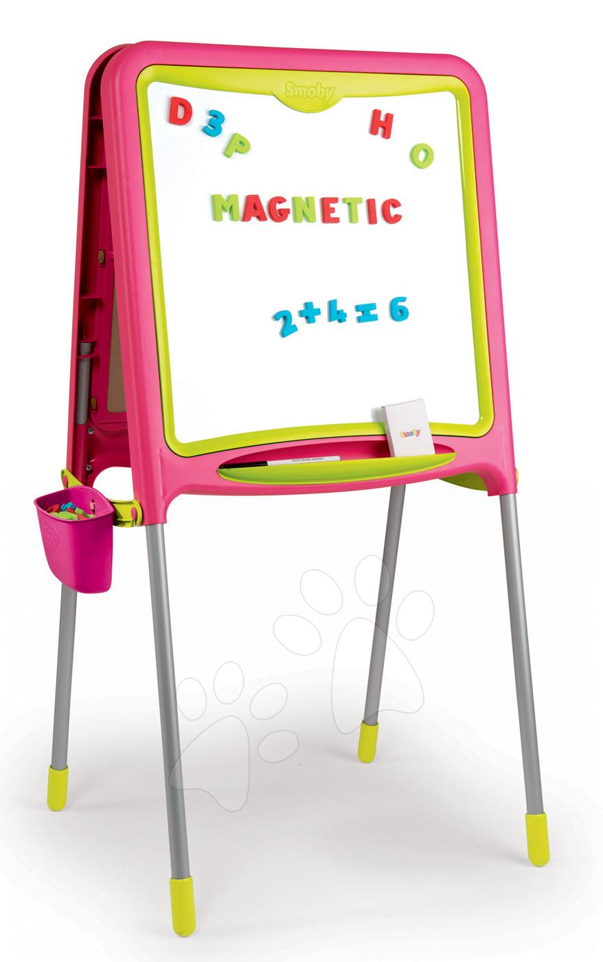 Magnetická školní tabule Smoby oboustranná s 80 doplňky růžová