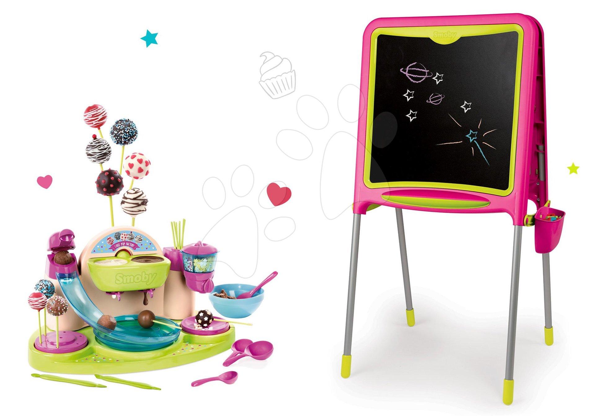 Set školská tabuľa Smoby magnetická obojstranná s 80 doplnkami a Hravá kuchárka Chef Cukráreň