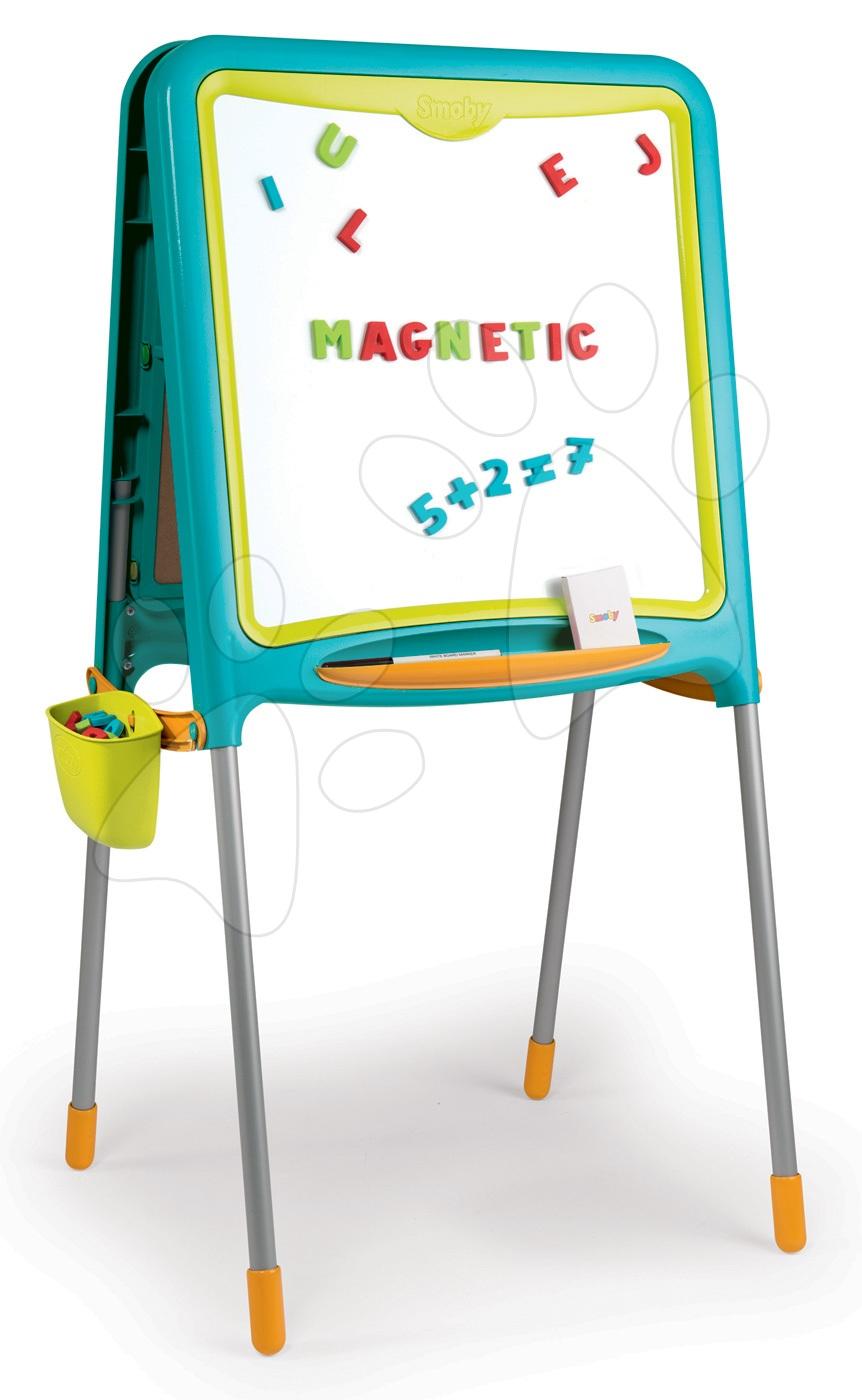 Magnetická školská tabuľa Activity Smoby obojstranná s 80 doplnkami modrá