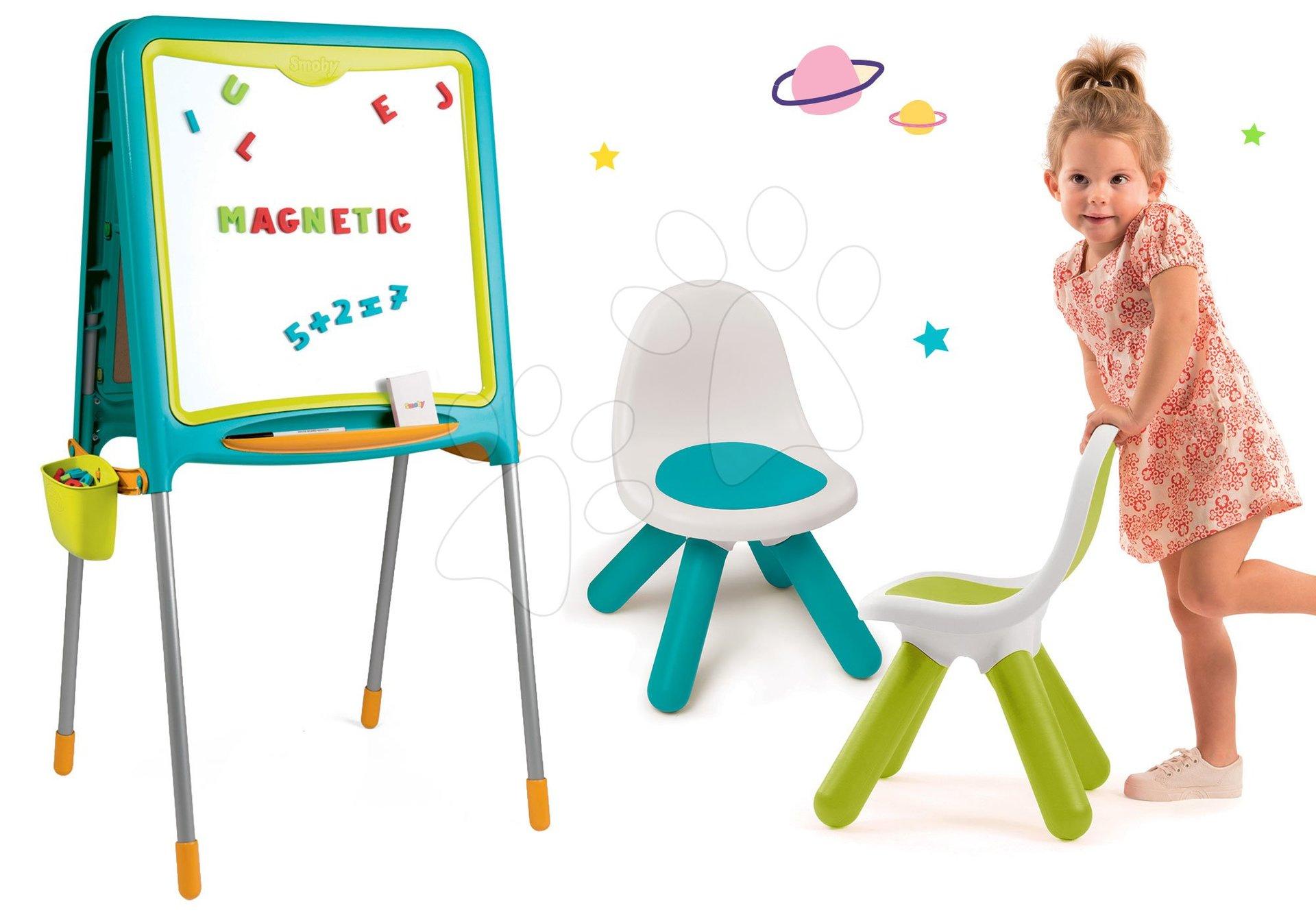 Smoby magnetická obojstranná tabuľa s 80 doplnkami a 2 stoličkami KidChair 410304-1