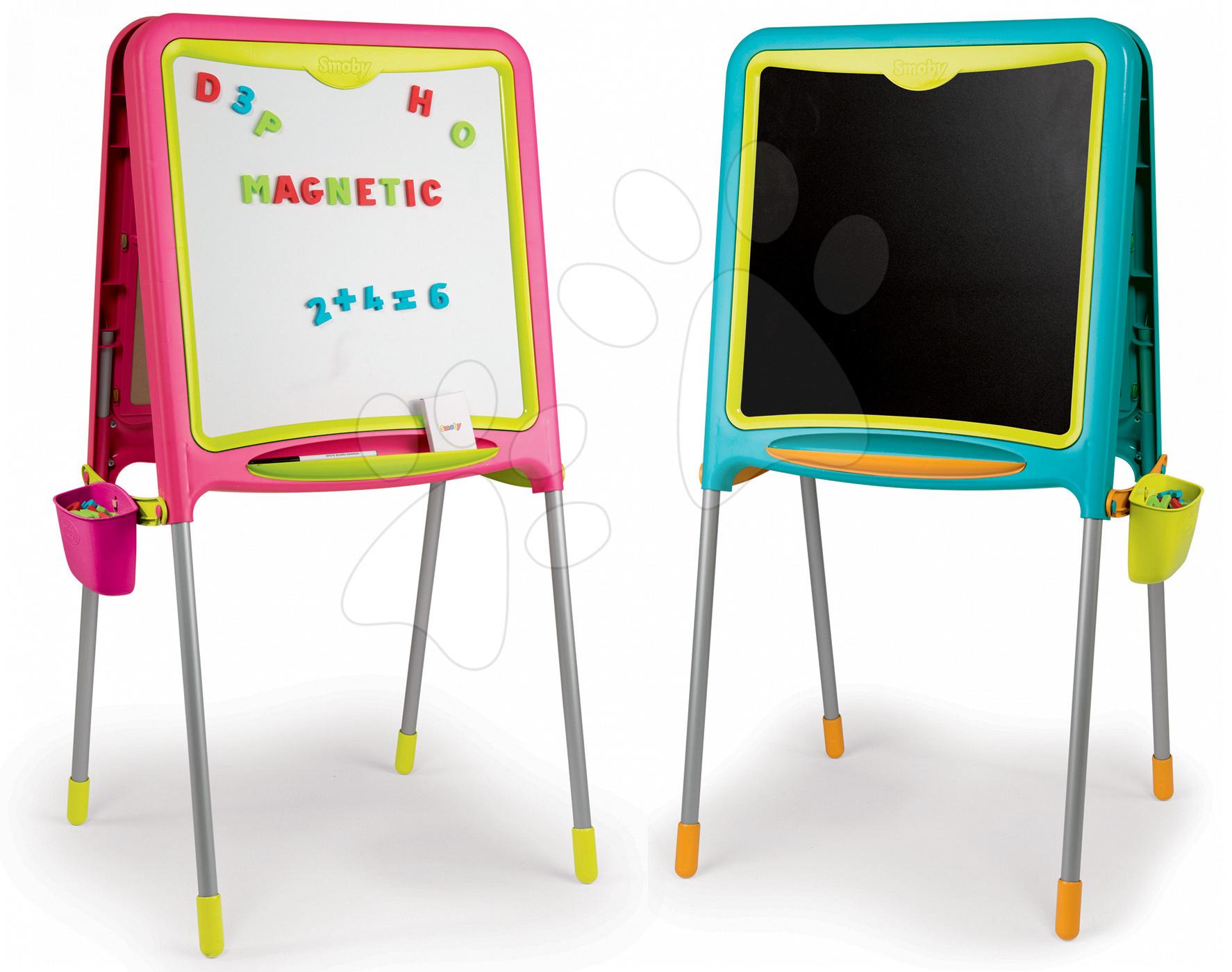 Školská obojstranná magnetická tabuľa Activity Smoby s 80 doplnkami set 2 kusy modrá/ružová