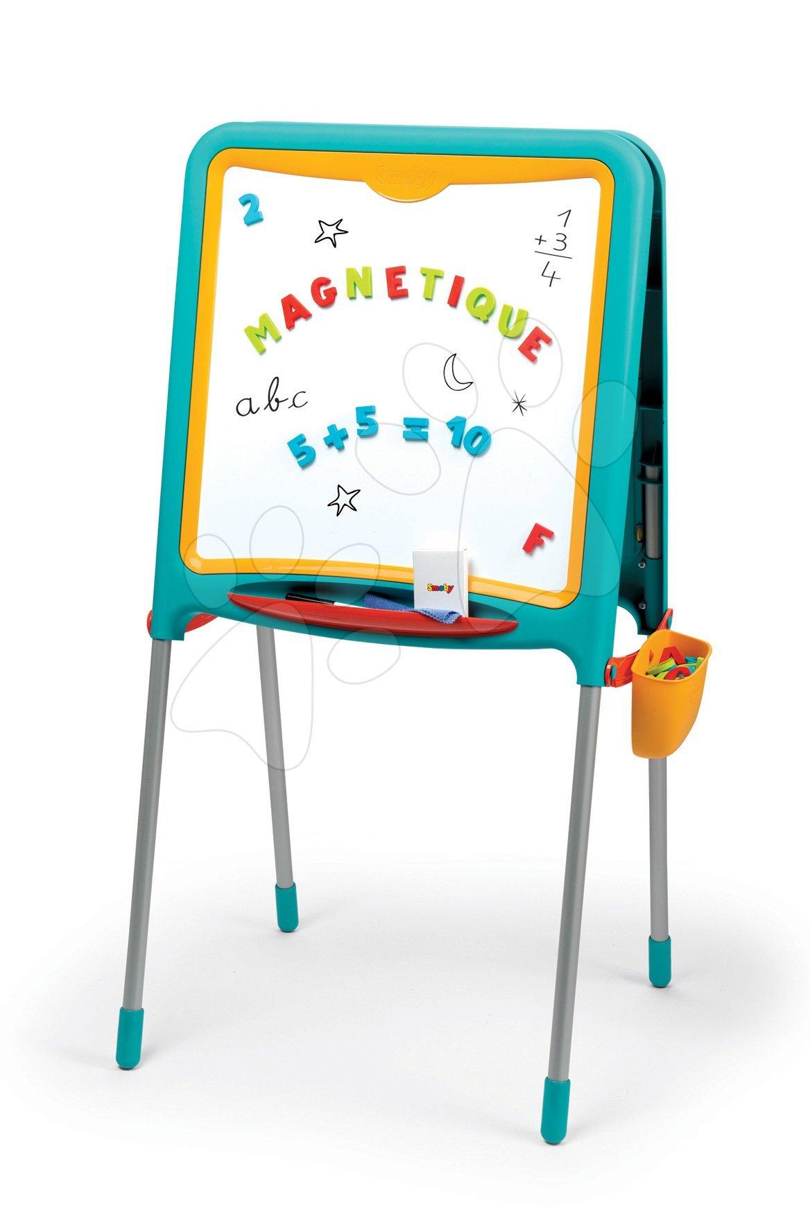 Tabule na kreslení a magnetky Metal Board Smoby oboustranná s 80 doplňky