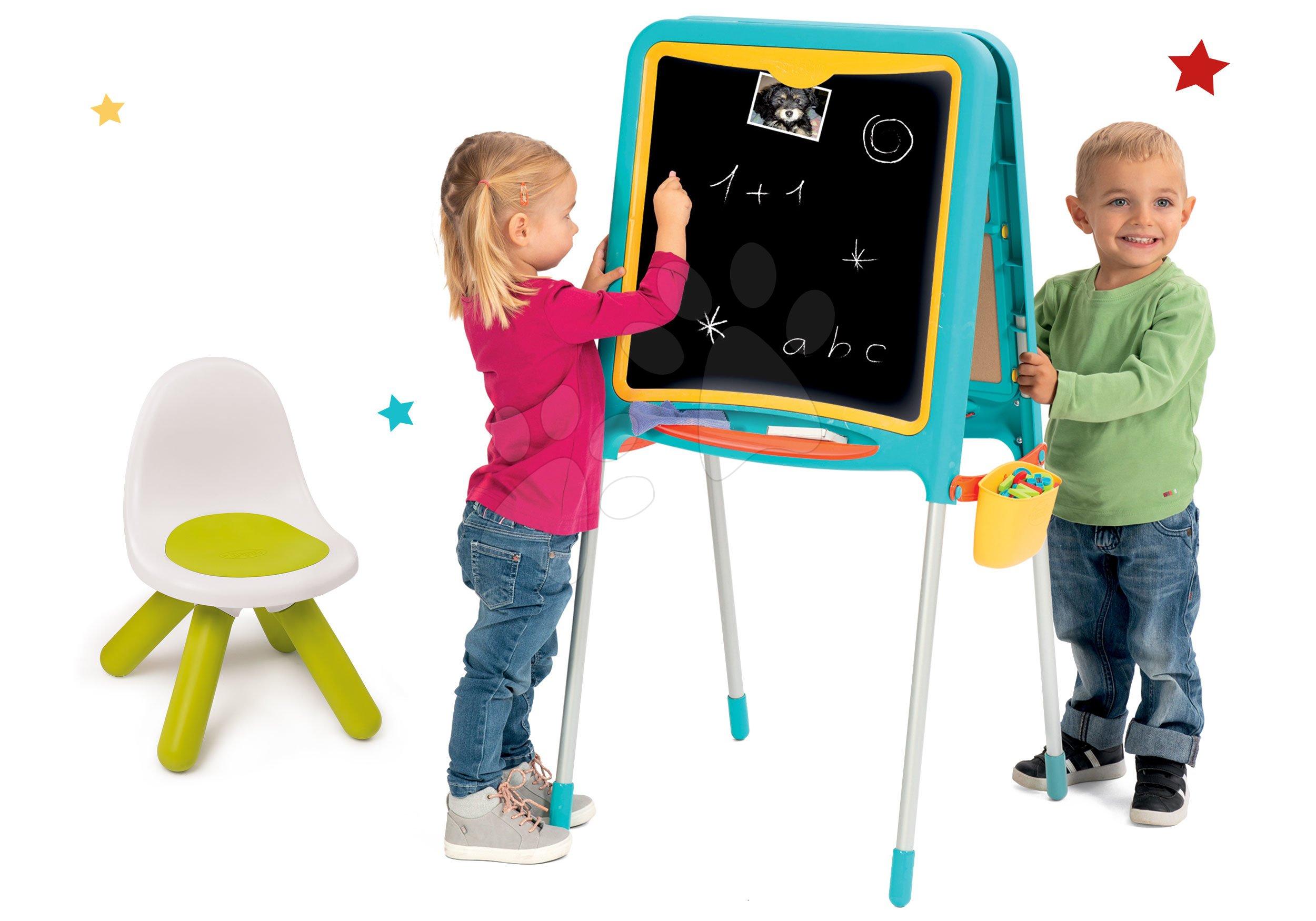 Set tabuľa na kreslenie a magnetky Metal Board Smoby obojstranná a stolička Kid zelená