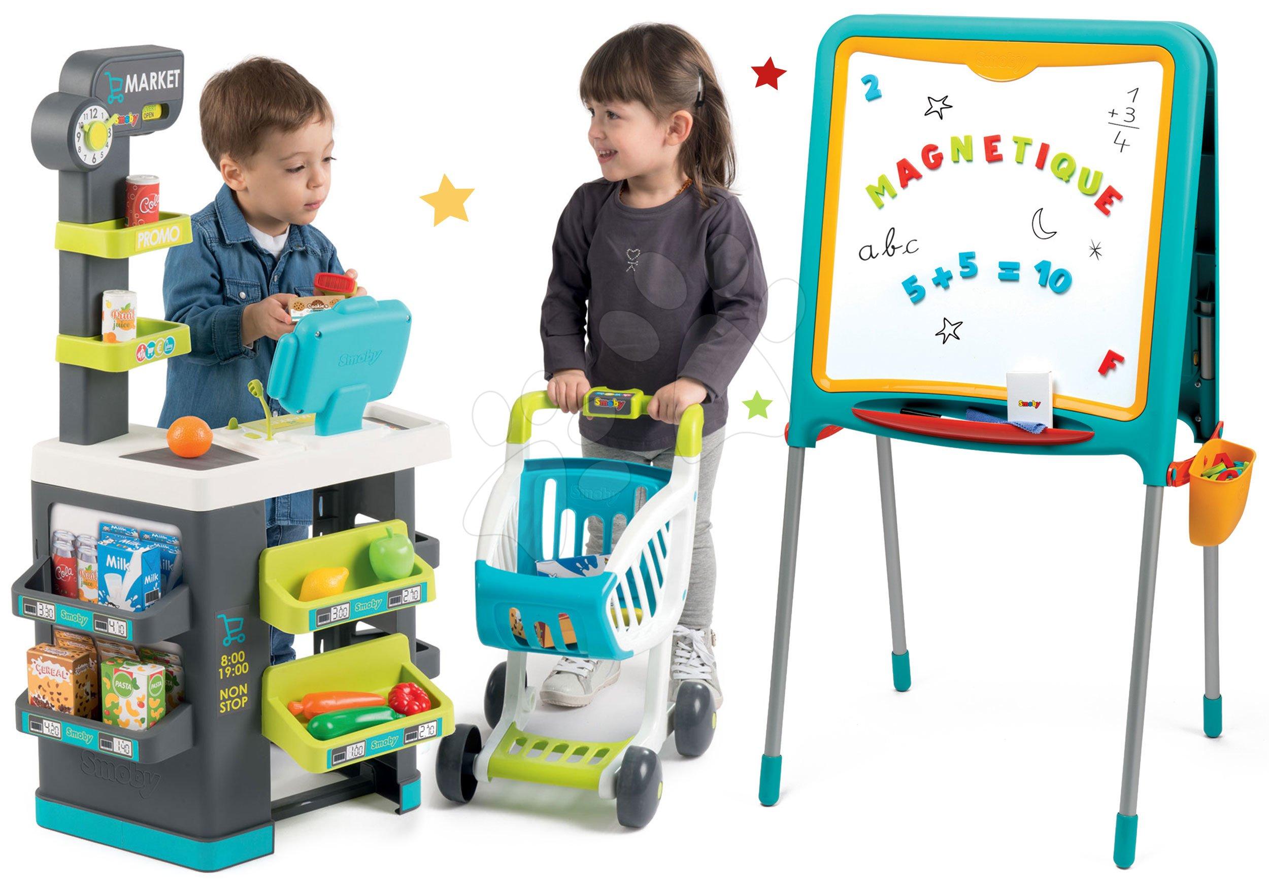 Set tabuľa na kreslenie a magnetky Metal Board Smoby obojstranná a obchod s potravinami Market s elektronickou pokladňou