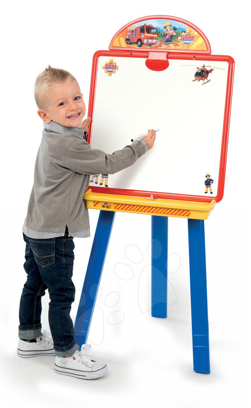 Magnetická školní tabule 2v1 Smoby Fireman Sam oboustranná s 16 doplňky