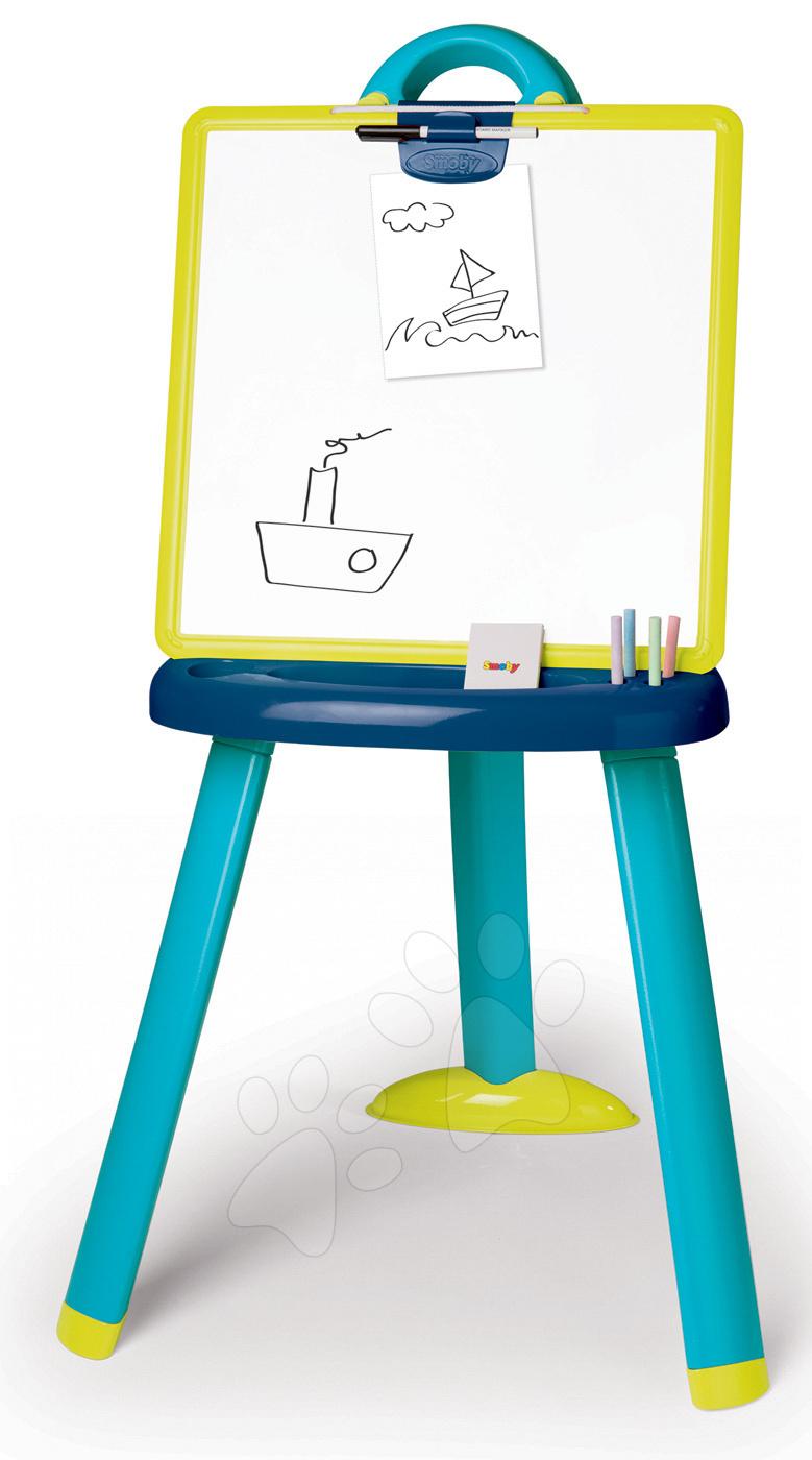Školská tabuľa 2v1 magnetická obojstranná Smoby so 7 doplnkami modrá
