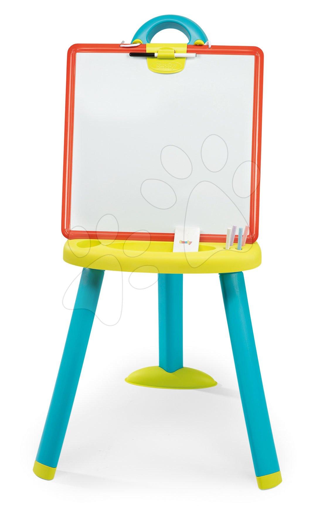 Školní tabule oboustranná Activity Plastic Board Smoby 2v1 magnetická na fixky a křídu a 7 doplňků