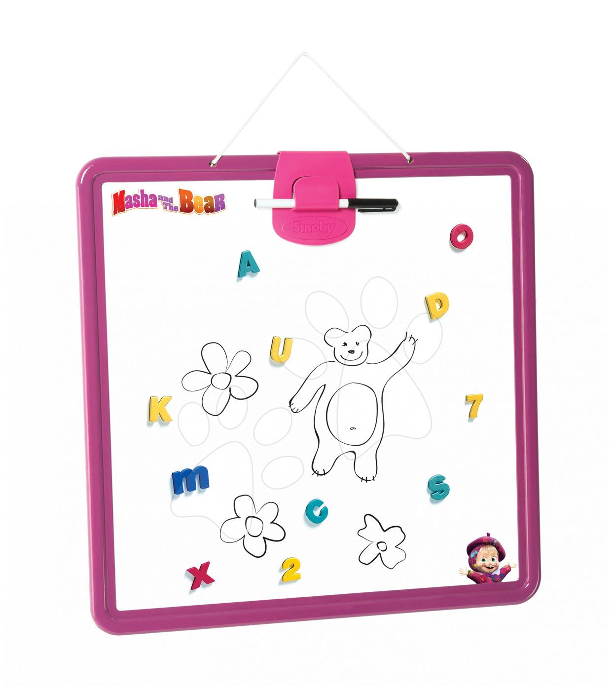 Školní magnetická tabule Máša a medvěd Smoby oboustranná, na zavěšení s 10 doplňky fialová