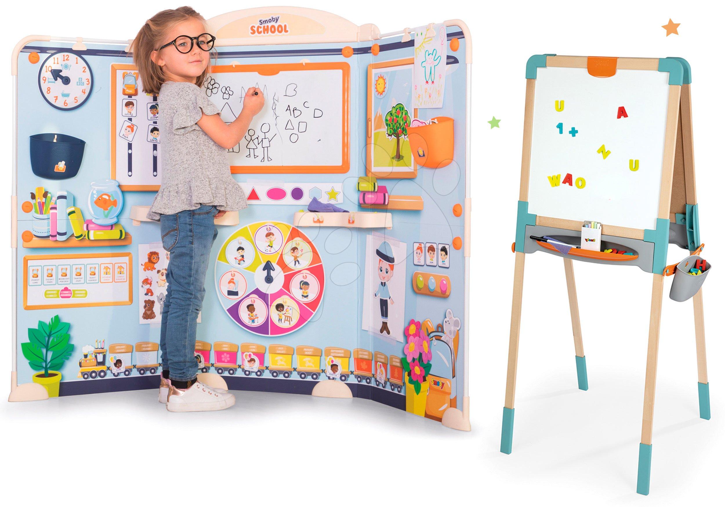 Set škola pre škôlkárov School Smoby Hra na učiteľa a žiaka s drevenou obojstrannou tabuľou magnetickou a na kriedu