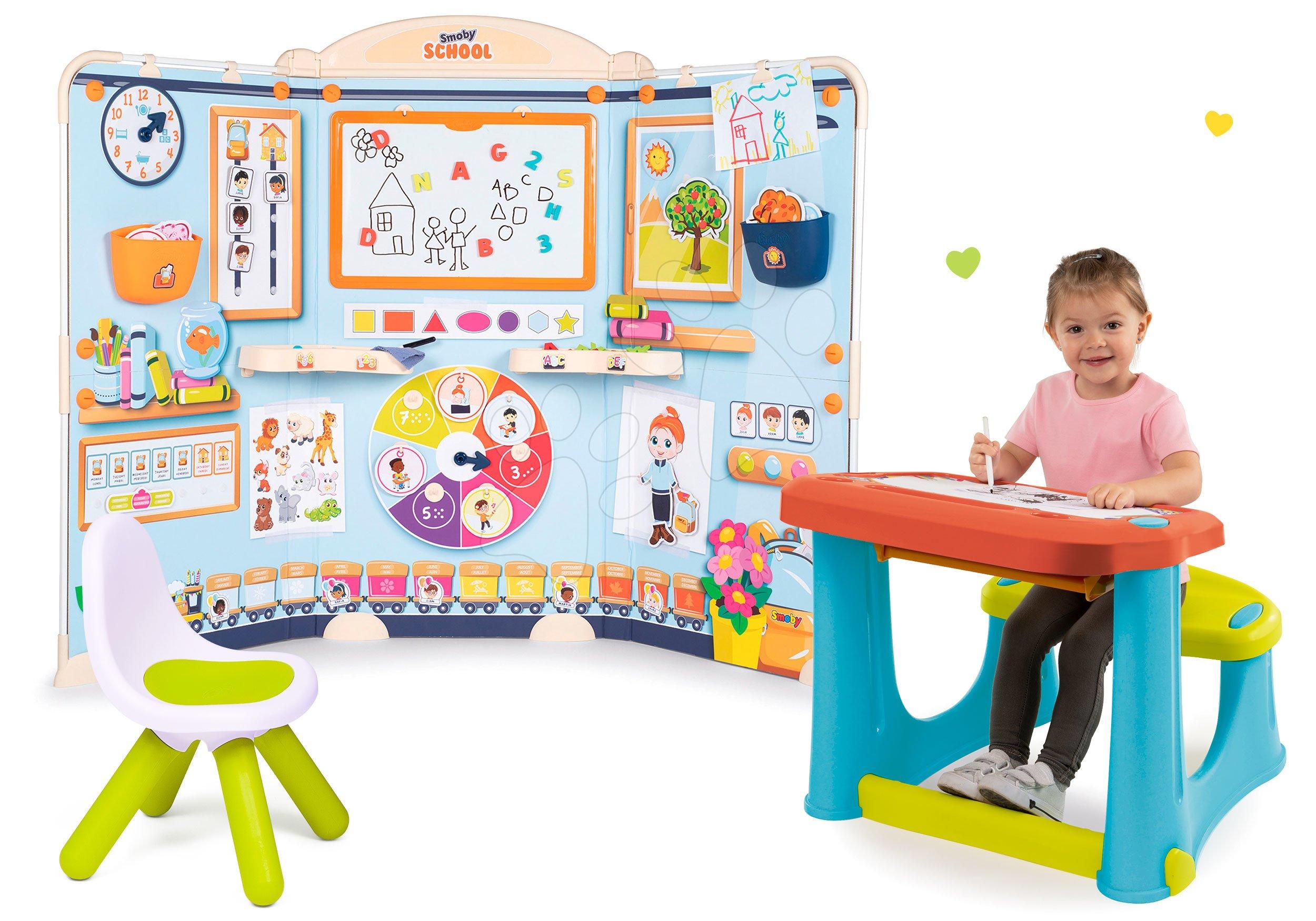 Set škola pre škôlkárov School Smoby Hra na učiteľa a žiaka so školskou lavicou na písanie a kreslenie a stolička