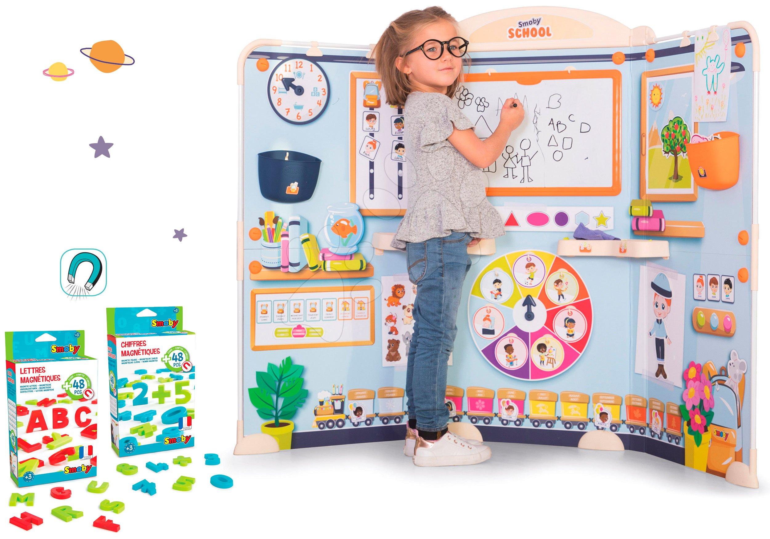 Set škola pro předškoláky School Smoby Hra na učitele a žáka s náhradními magnetkami 48 ks ABC a 48 ks čísla