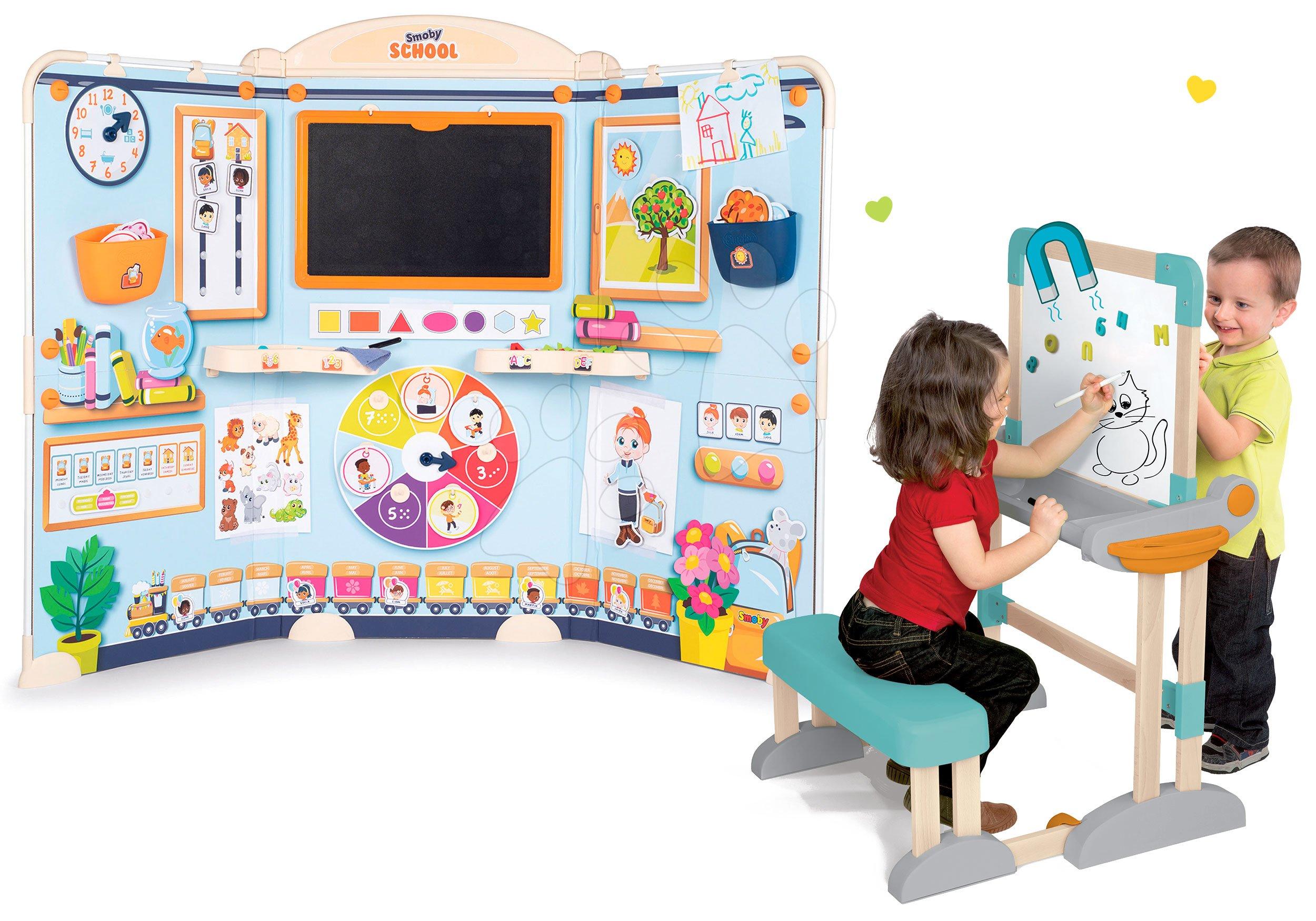 Set škola pre škôlkárov School Smoby Hra na učiteľa a žiaka a drevená lavica s obojstrannou tabuľou na kriedu/magnet