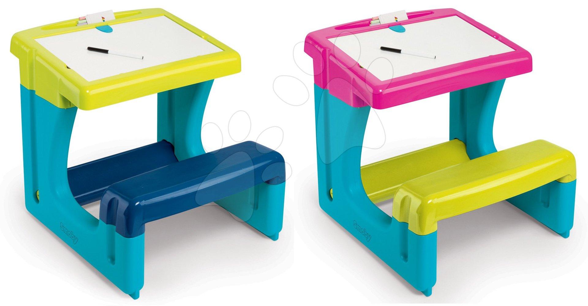 Set školské lavice Activity Smoby s obojstrannou tabuľou a 8 doplnkami modrá a ružová