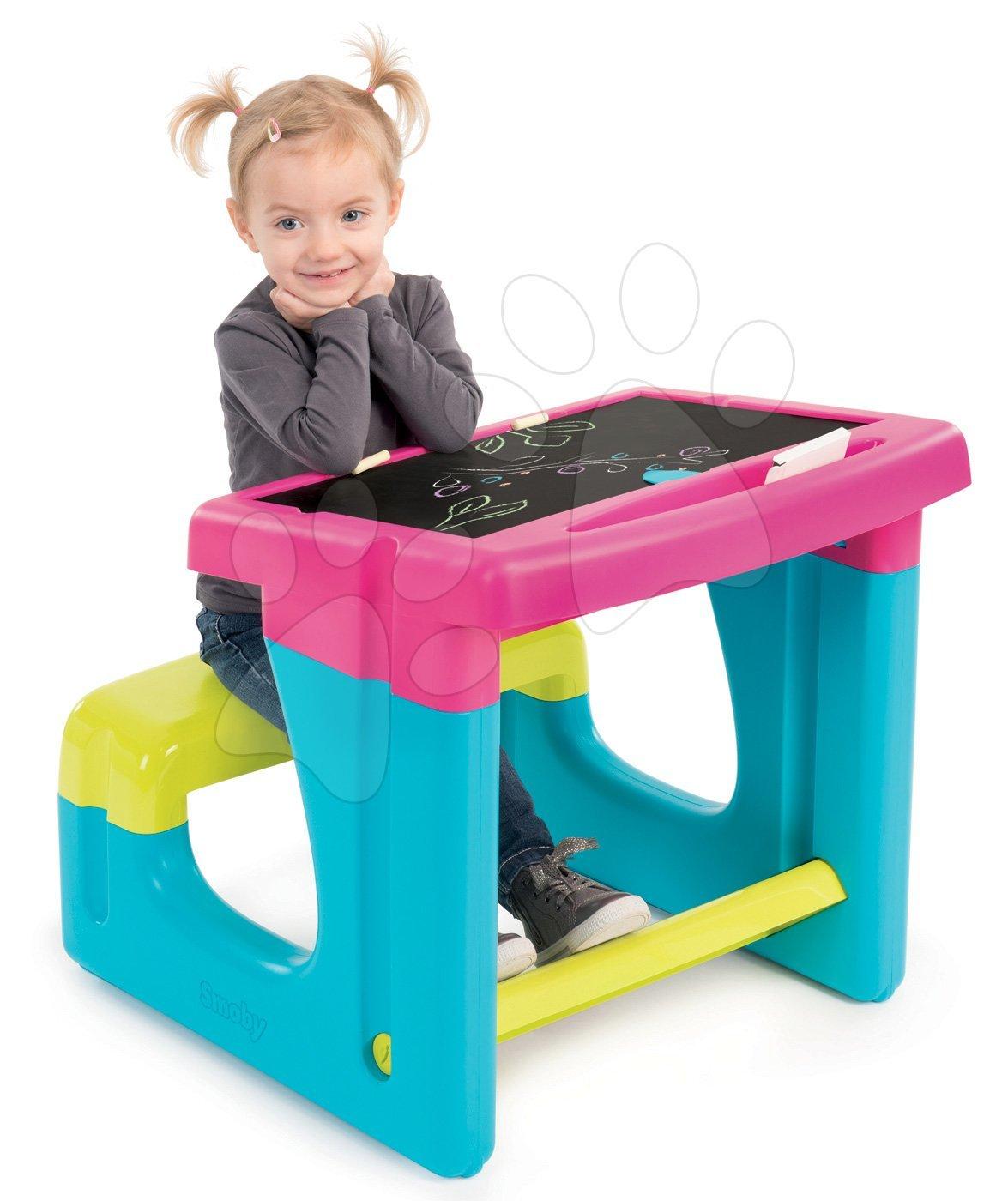 Školská lavica s odkladacím priestorom a obojstrannou tabuľou Activity  Smoby s 8 doplnkami 420102 ružová 42a9f2ce768