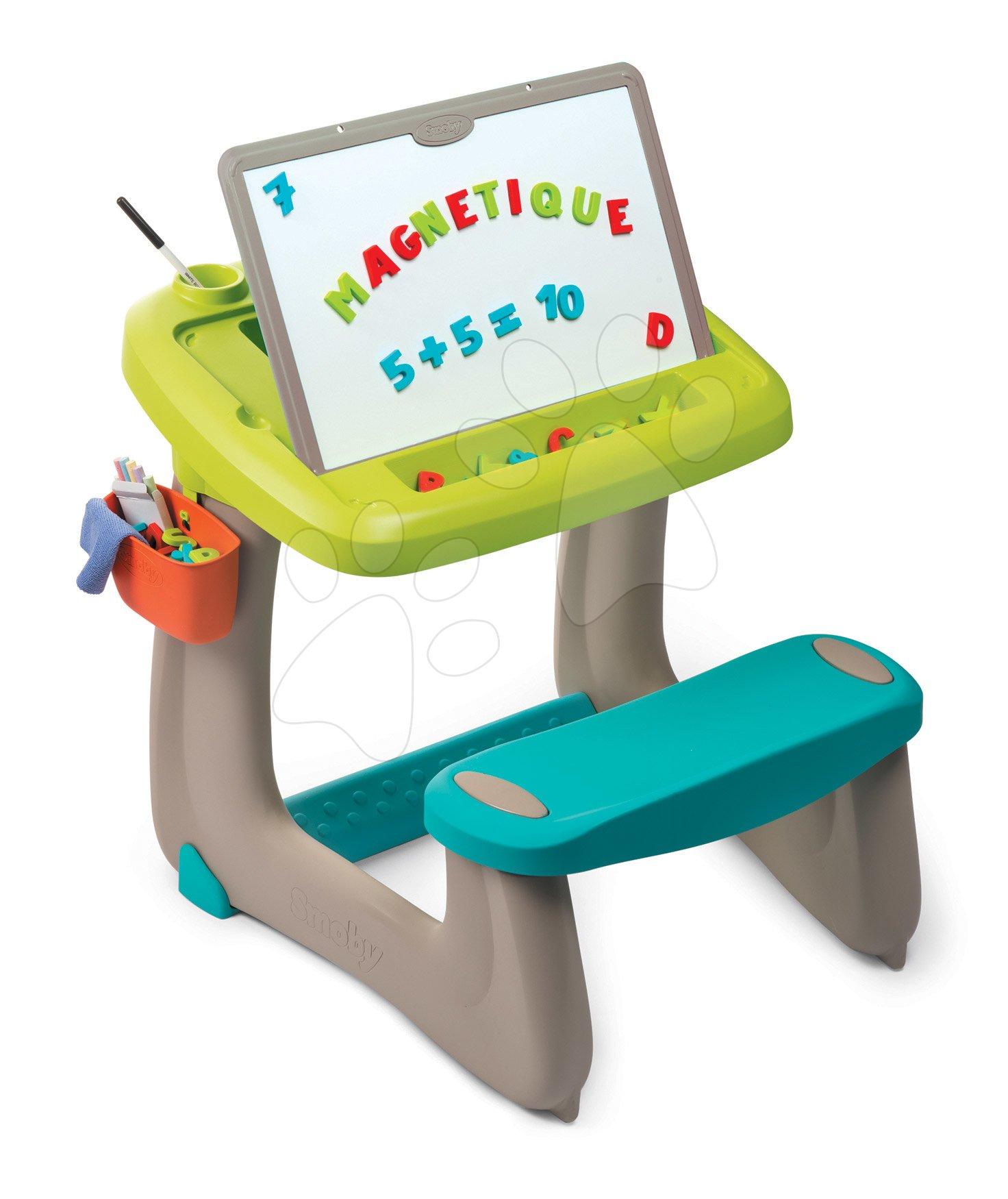 Šolske klopi - Klop za risanje in magnetki Little Pupils Desk Smoby z dvostransko tablo in prostorom za shranjevanje z 80 dodatki