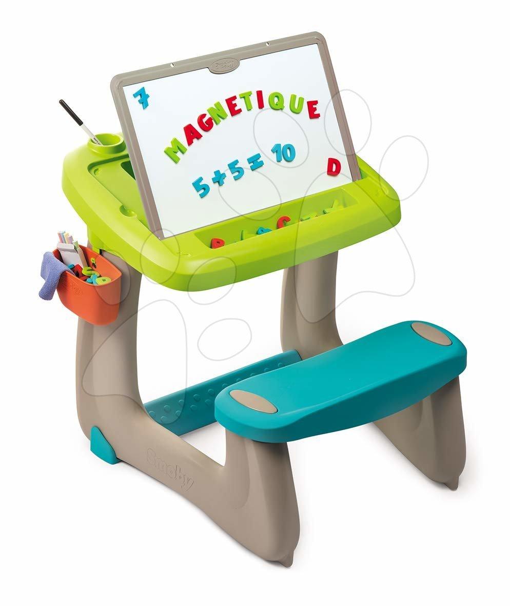 Lavica na kreslenie a magnetky Little Pupils Desk Smoby s obojstrannou tabuľou a úložným priestorom s 92 doplnkami