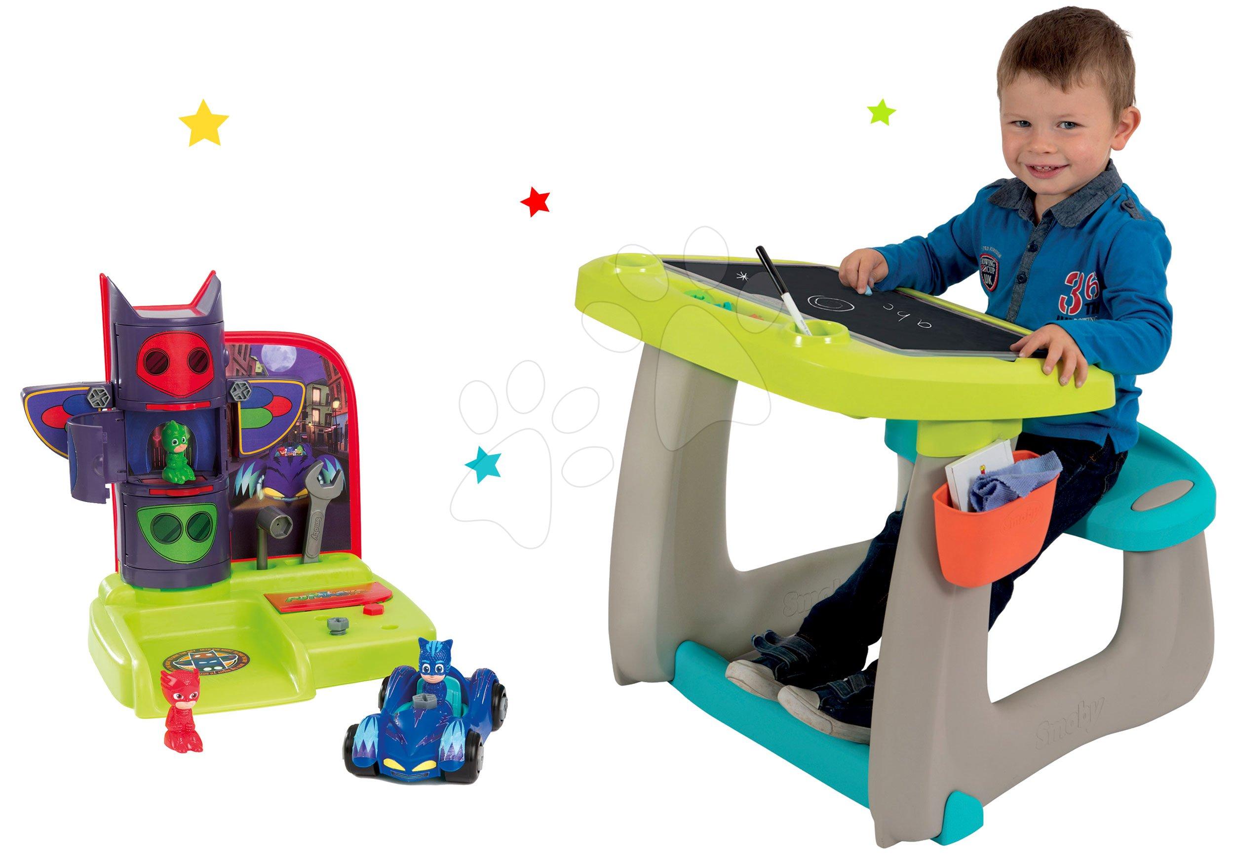 Smoby set detská lavica s obojstrannou tabuľou Activity a pracovné náradie PJ Masks 420101-4