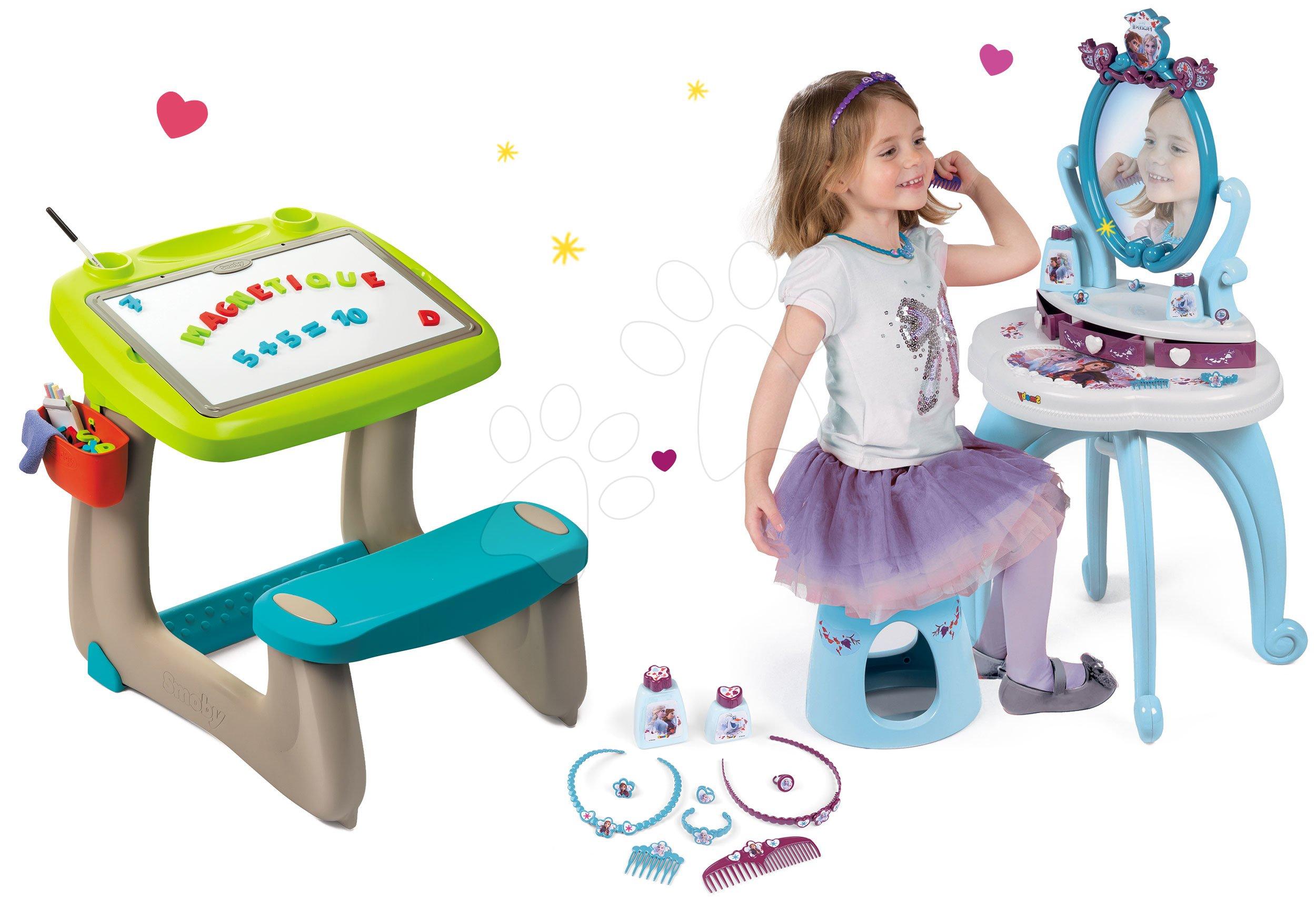 Set lavica na kreslenie a magnetky Little Pupils Desk Smoby s obojstrannou tabuľou a kozmetický stolík Frozen 2v1 so stoličkou