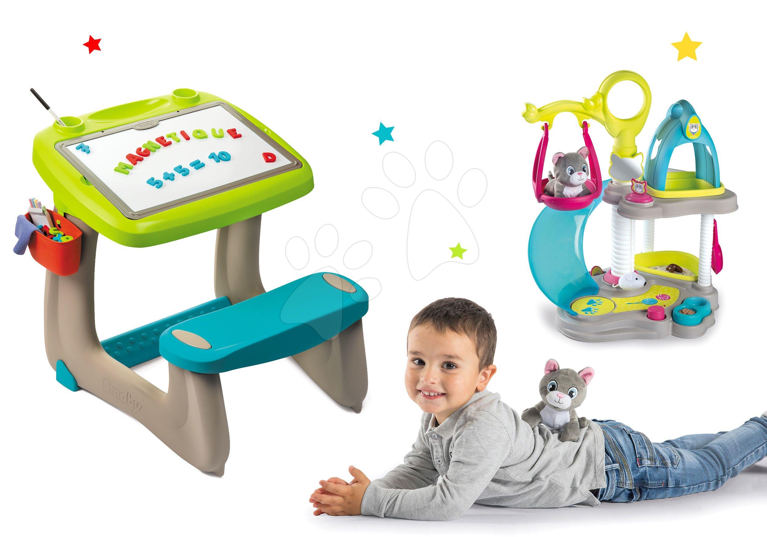 Smoby set detská lavica s obojstrannou tabuľou Activity a Hravá kuchárka Perníková chalúpka 420102-3