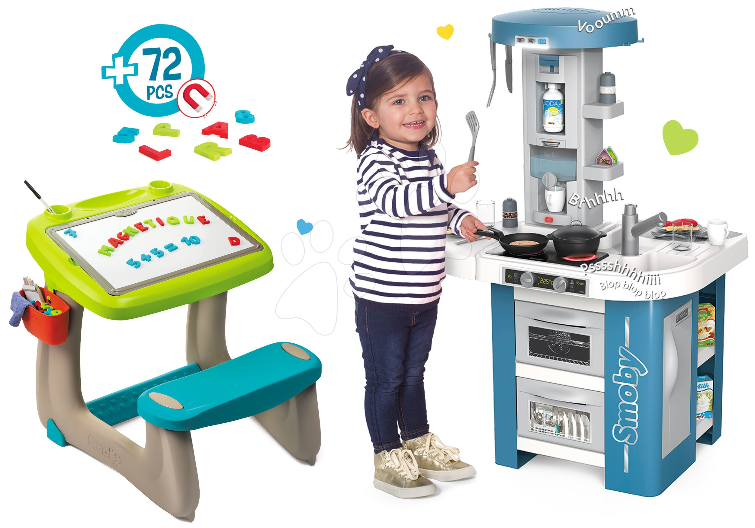 Set lavica na kreslenie a magnetky Little Pupils Desk Smoby s obojstrannou tabuľou a elektronická kuchynka Tech a magnetické písmenká Abeceda